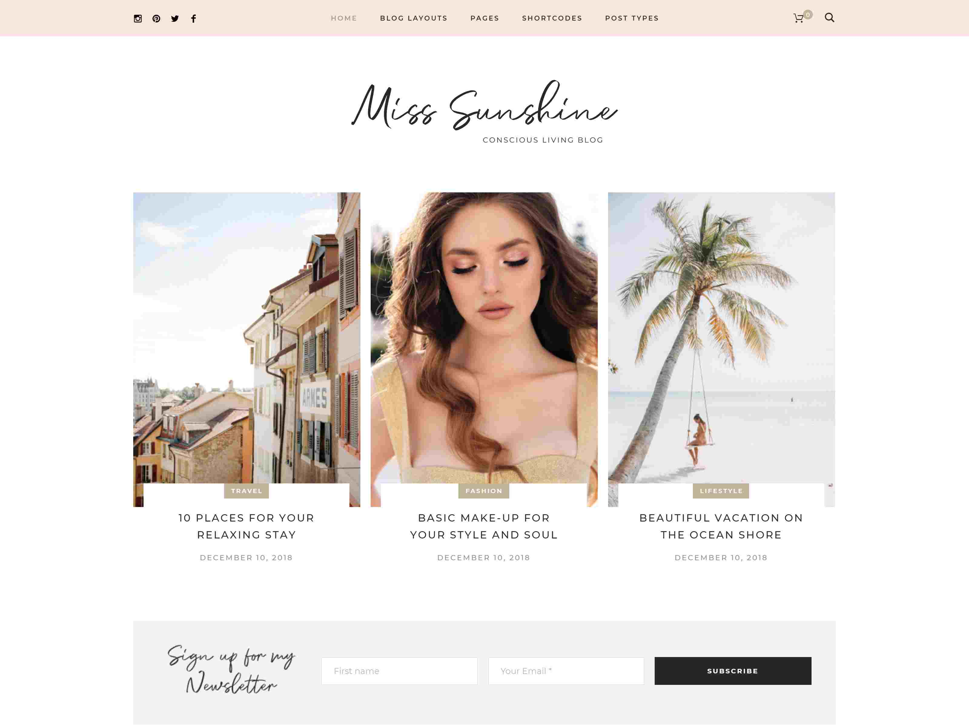 Miss Sunshine - Lifestyle & Beauty Women Blog wordpress news themes