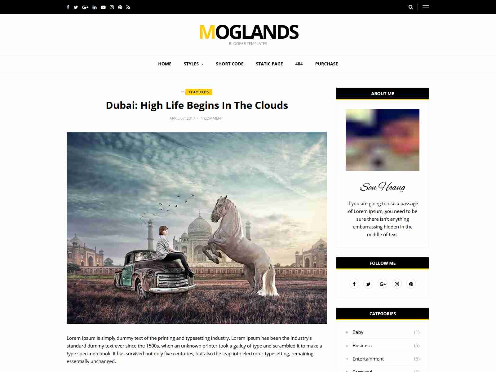Mogtemplates - MogLands Template For Blogger - 2 Styles
