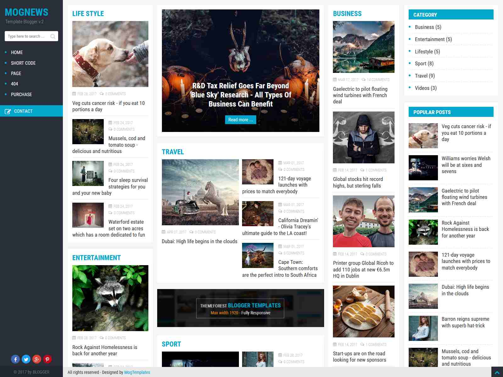 Mogtemplates - Mognews Version 2 Template For Blogger