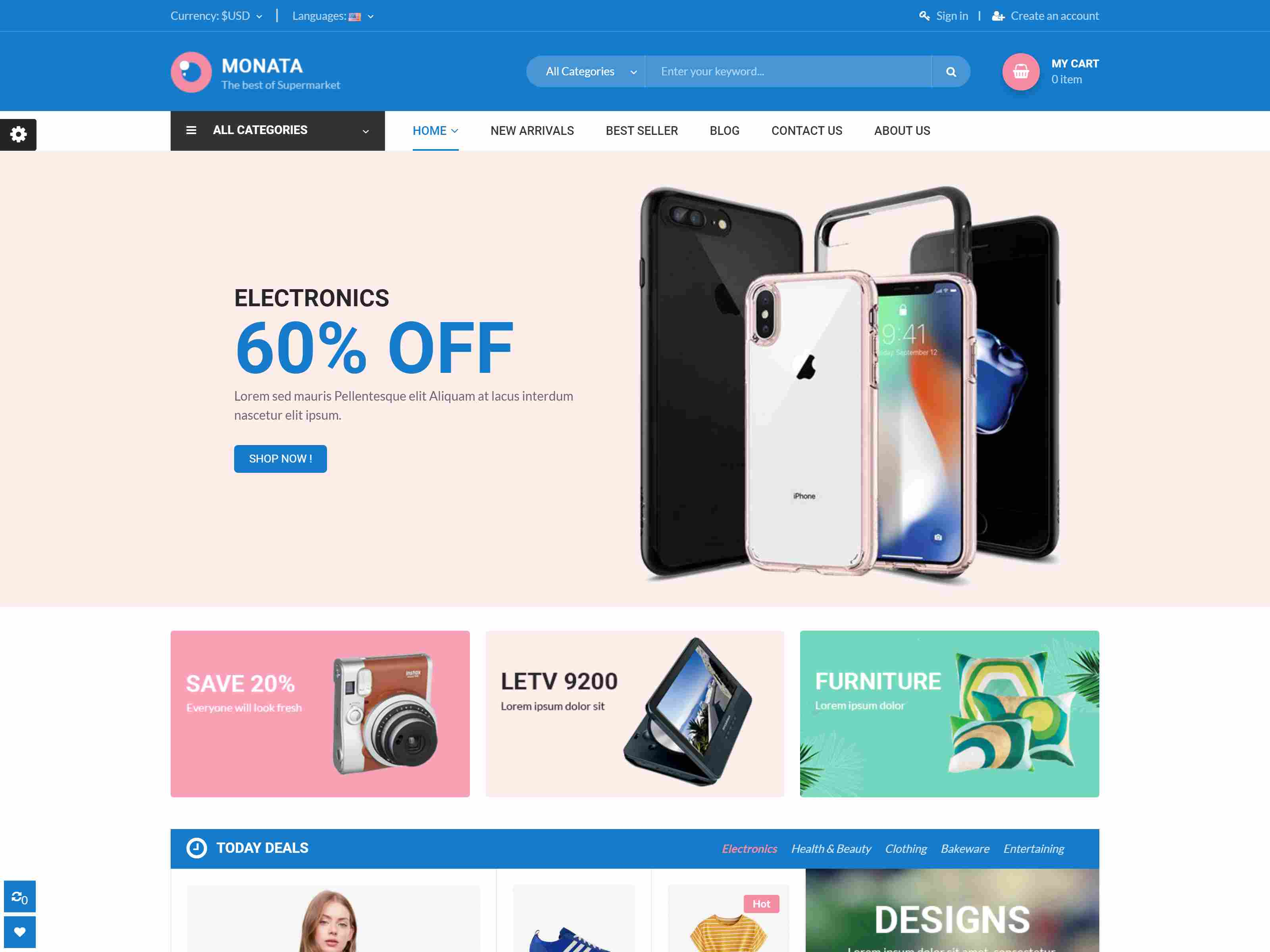 Monata - Clean Shopping Responsive PrestaShop 1.7 Theme