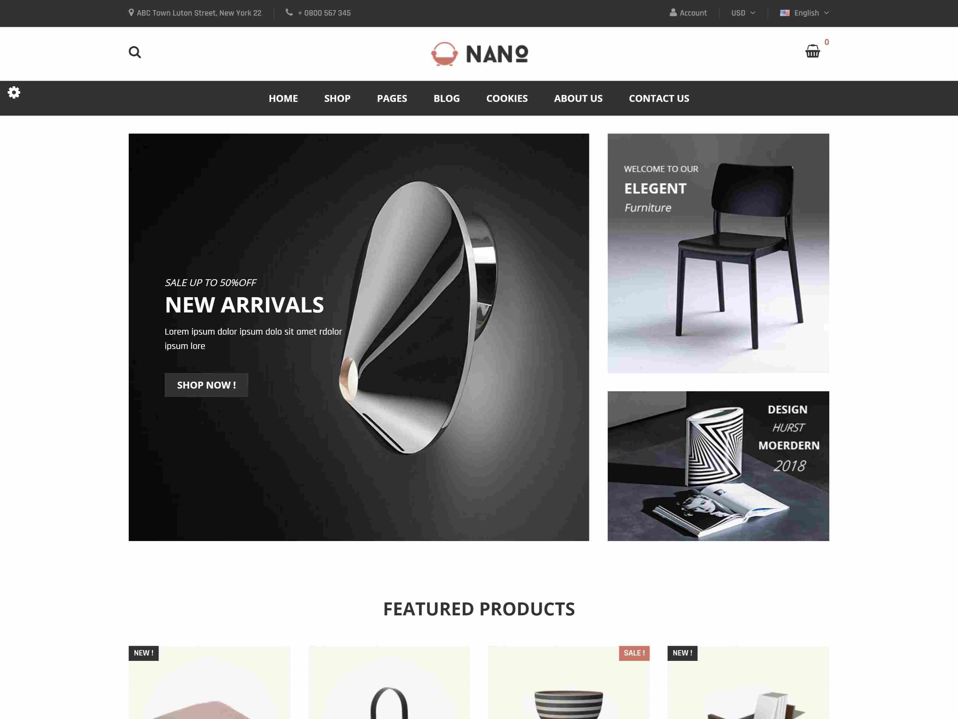 Nano - Minimalist Furniture Responsive PrestaShop 1.7 Theme
