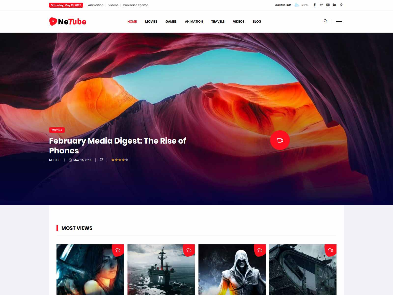 Netube - Viral Video Blog / Magazine WordPress Theme