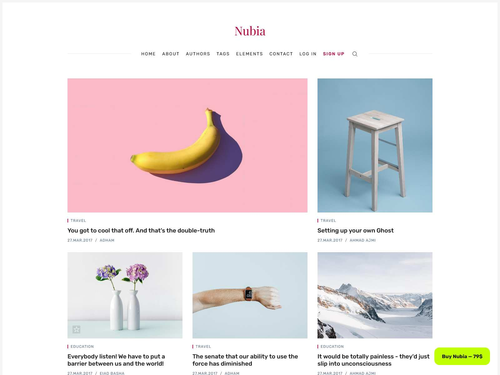 Nubia - Blog and Magazine Ghost 3.0 Theme