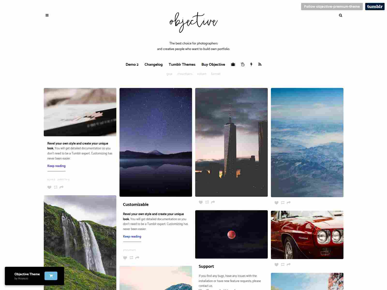 Objective | Photo Grid Tumblr Theme