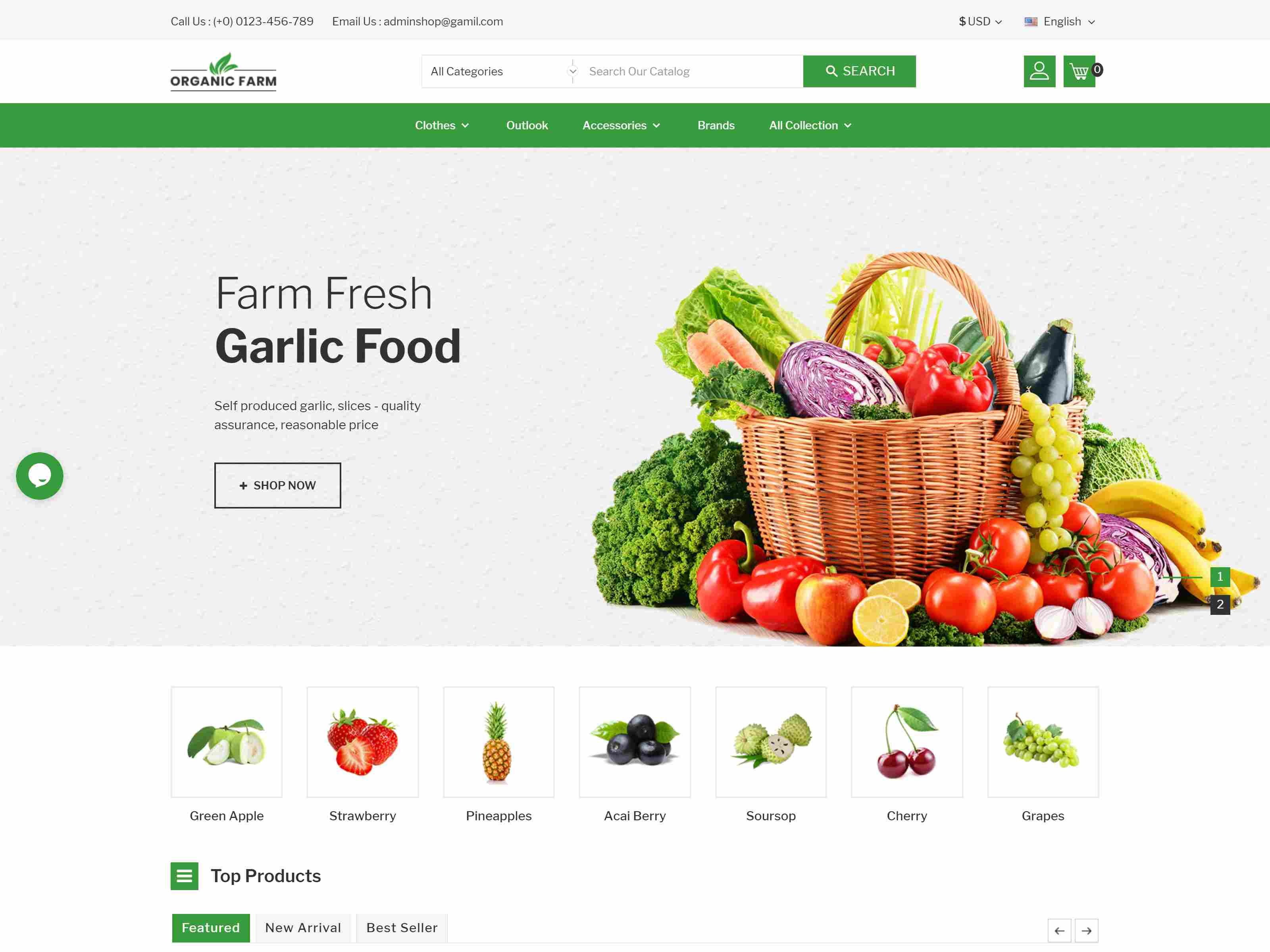 Organic Farm & Vegetable Prestashop Theme