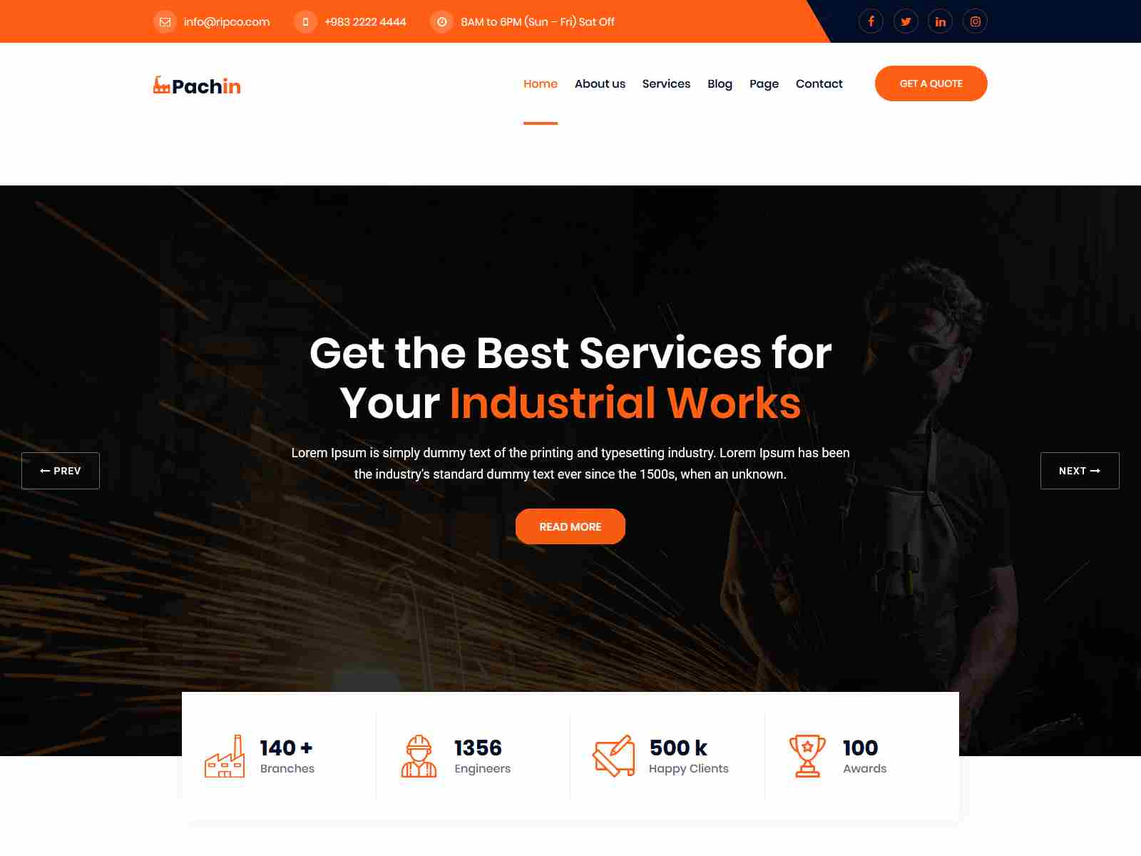 Pachin - Industry & Factory WordPress Theme