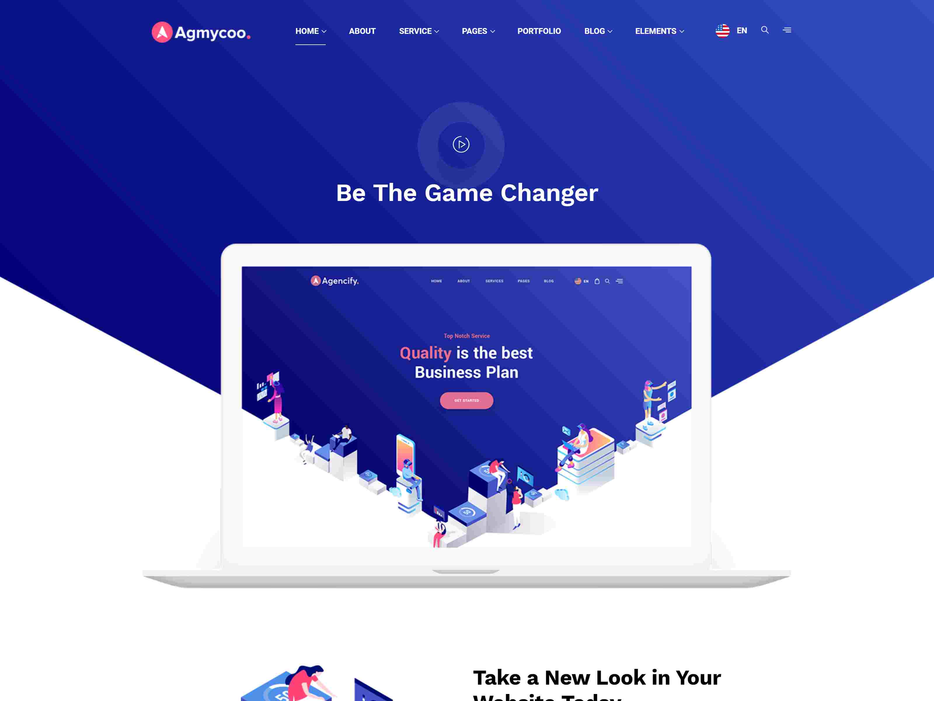Agmycoo - Isometric Startup Creative Digital Agency WordPress Theme software themes, mobile app wordpress themes