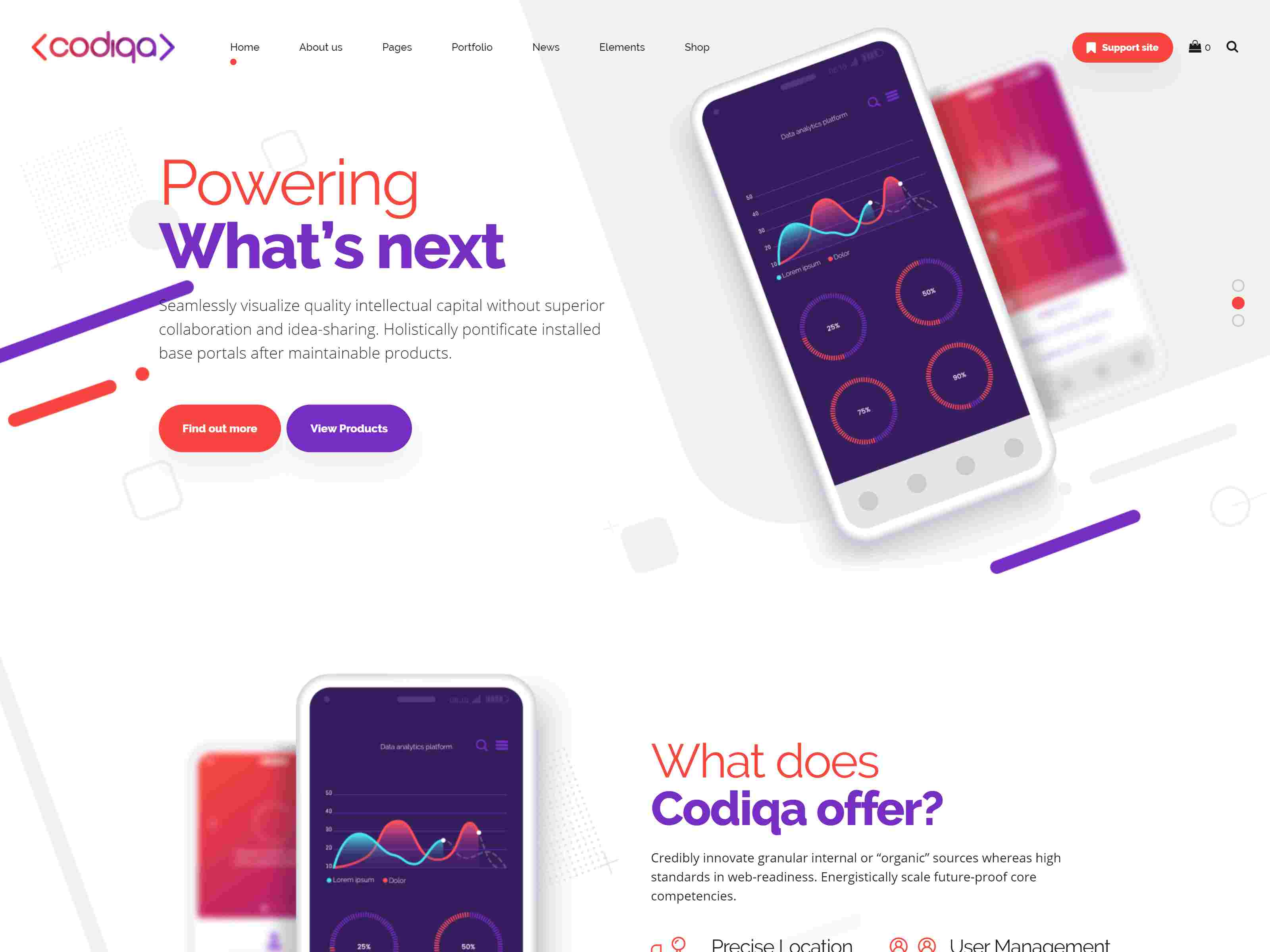 Codiqa - Software, App & Digital software themes, mobile app wordpress themes