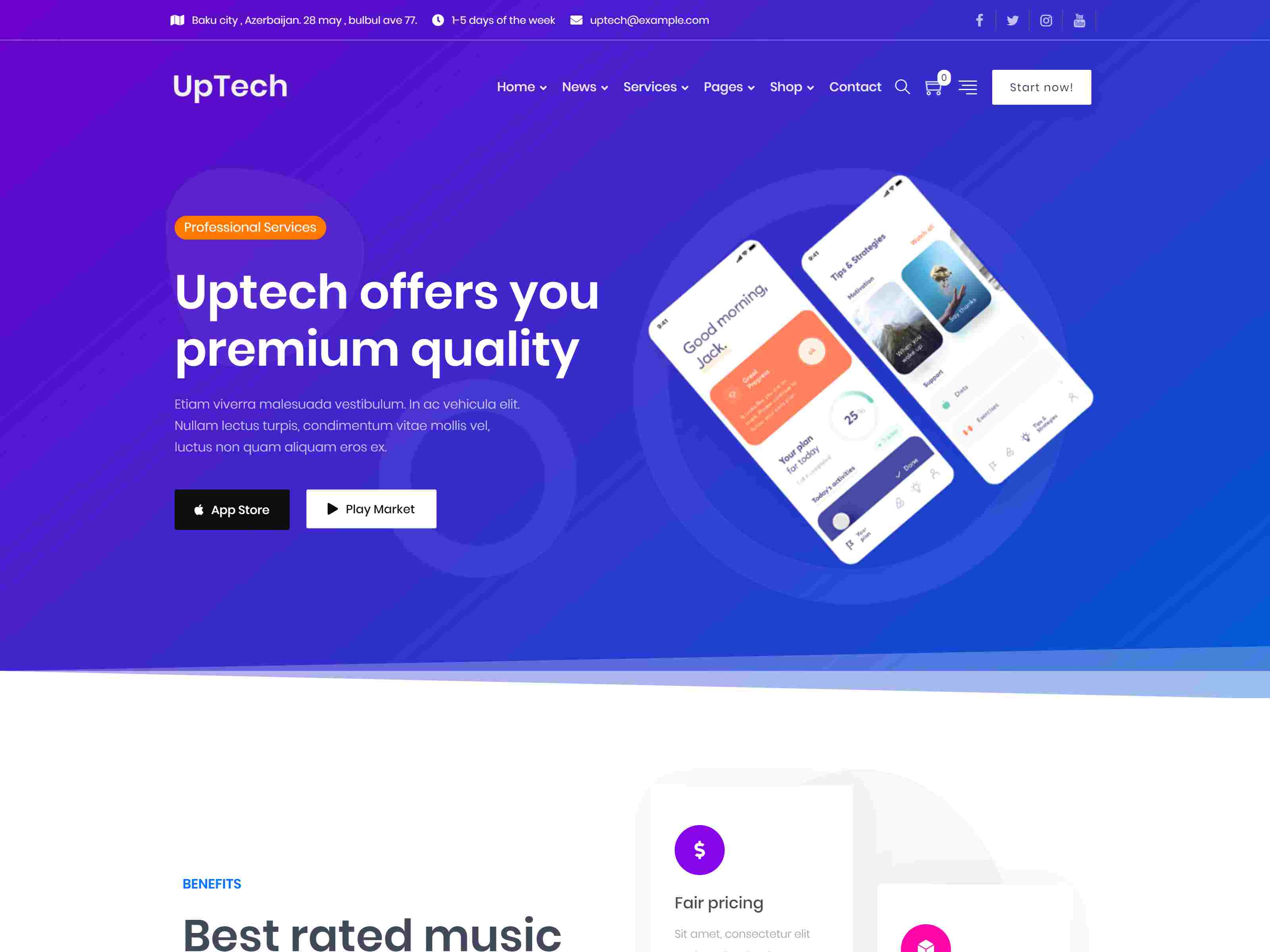 Uptech - IT Solutions & Services WordPress Theme software themes, mobile app wordpress themes
