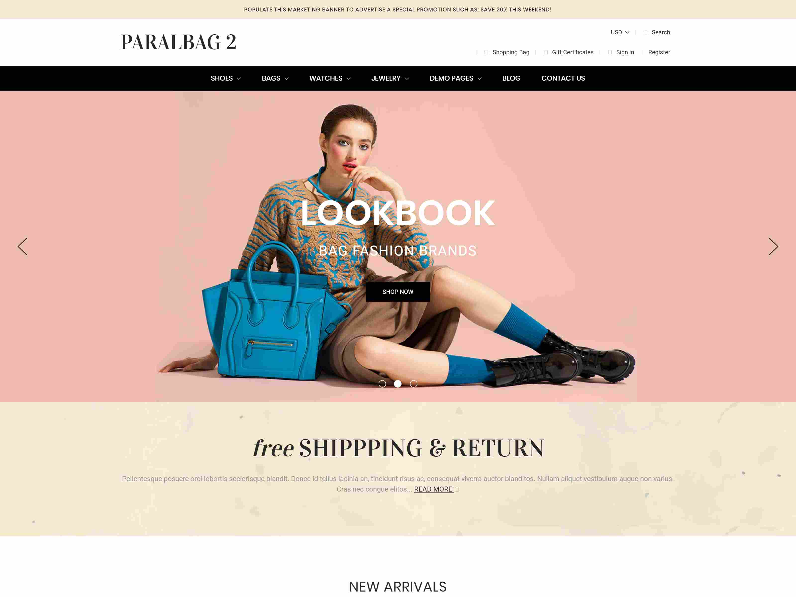 Paralbag - Parallax BigCommerce Bag Store Theme Clothing BigCommerce Themes