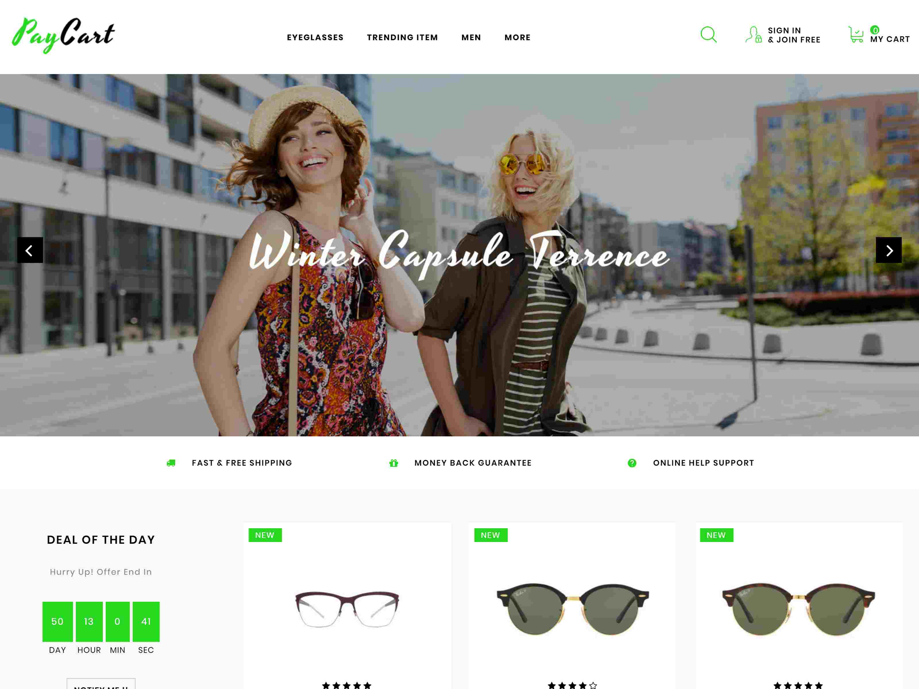 Paycart Glasses Store - Prestashop Theme
