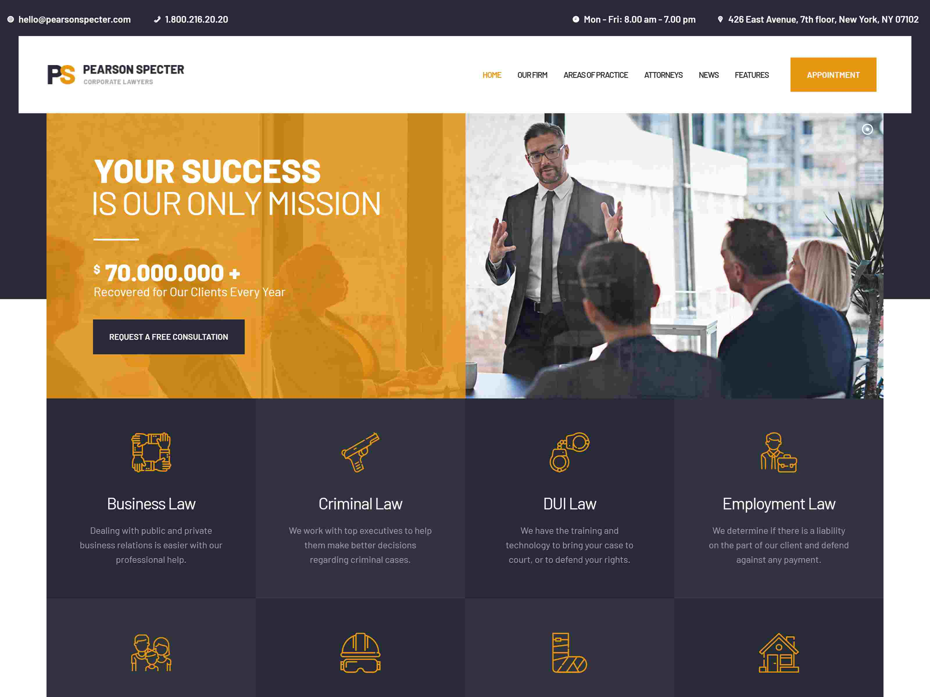 Pearson Specter | WordPress Theme for Lawyer & Attorney Law WordPress Themes