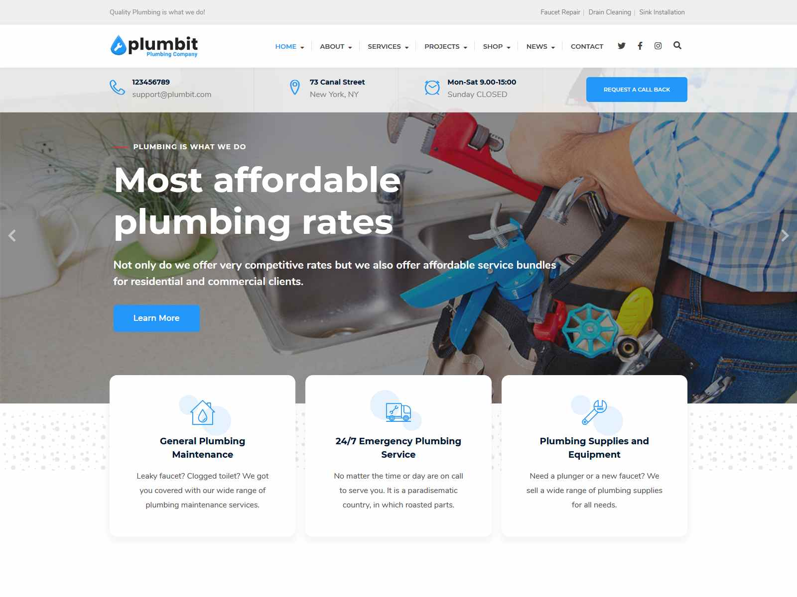 Plumbit - Plumbing WordPress Theme