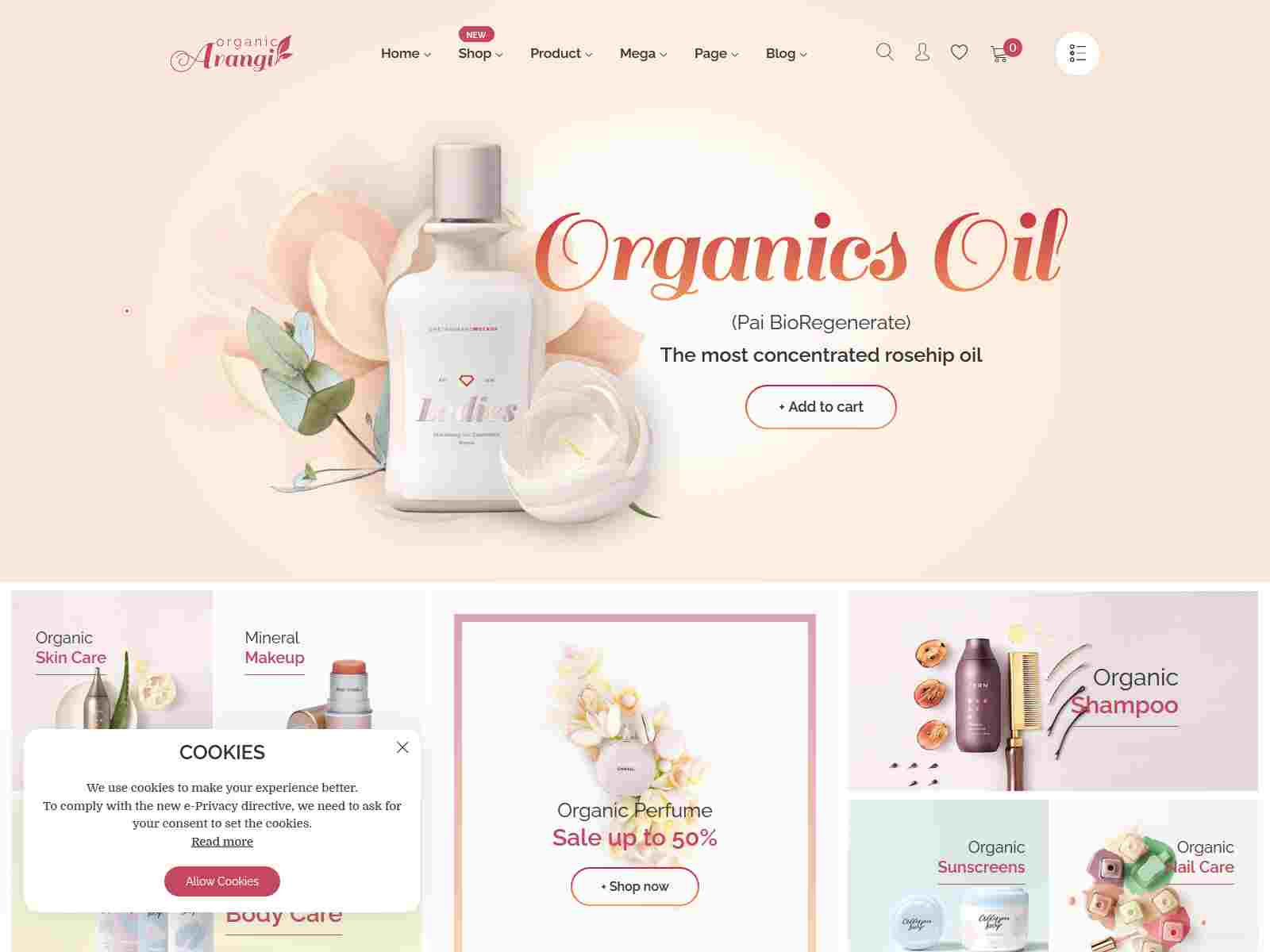 Arangi - Organic and  Healthy Products Magento 2 Theme