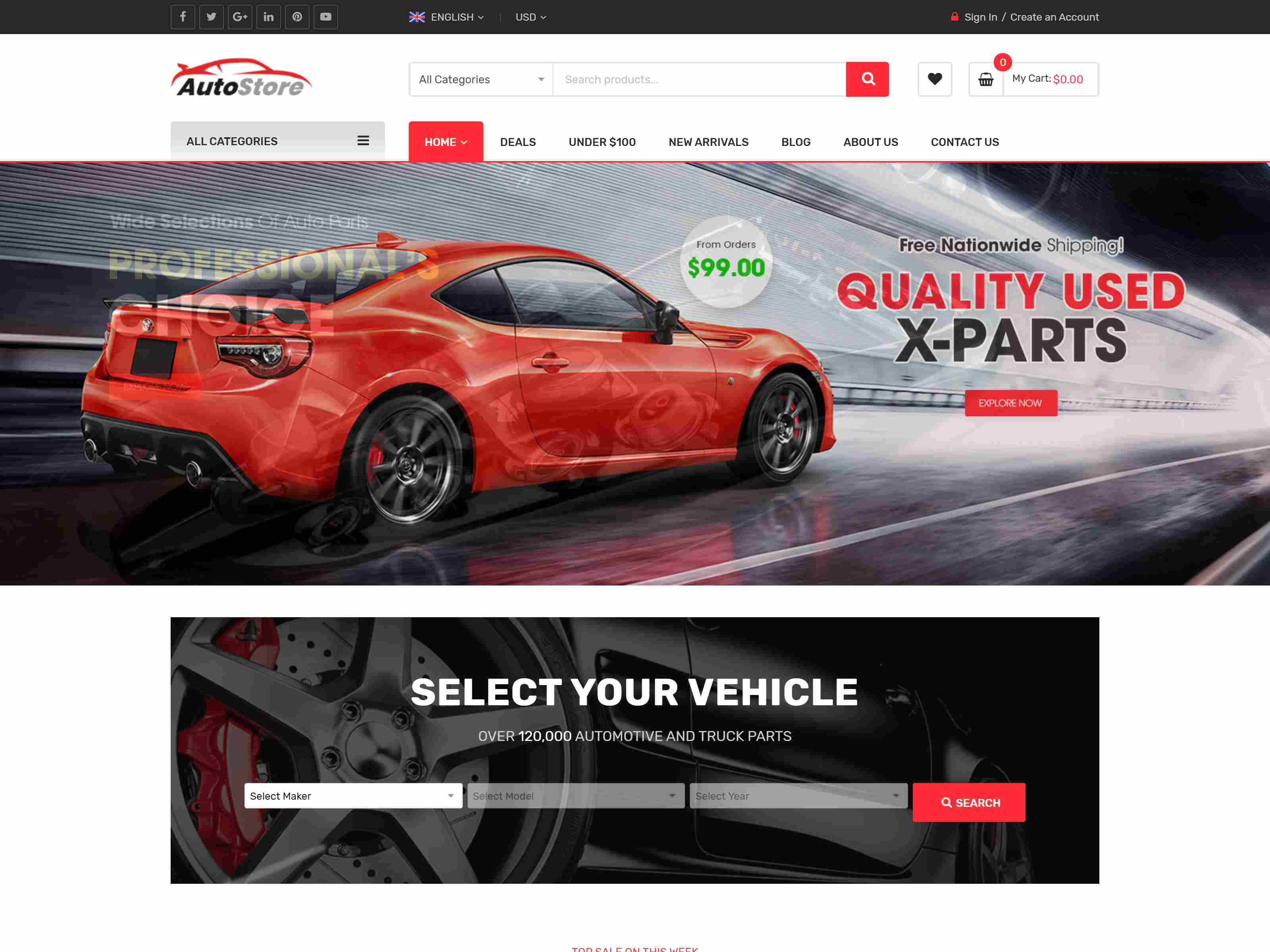 AutoStore - Auto Parts and Equipments Magento 2 Theme with Ajax Attributes Search Module