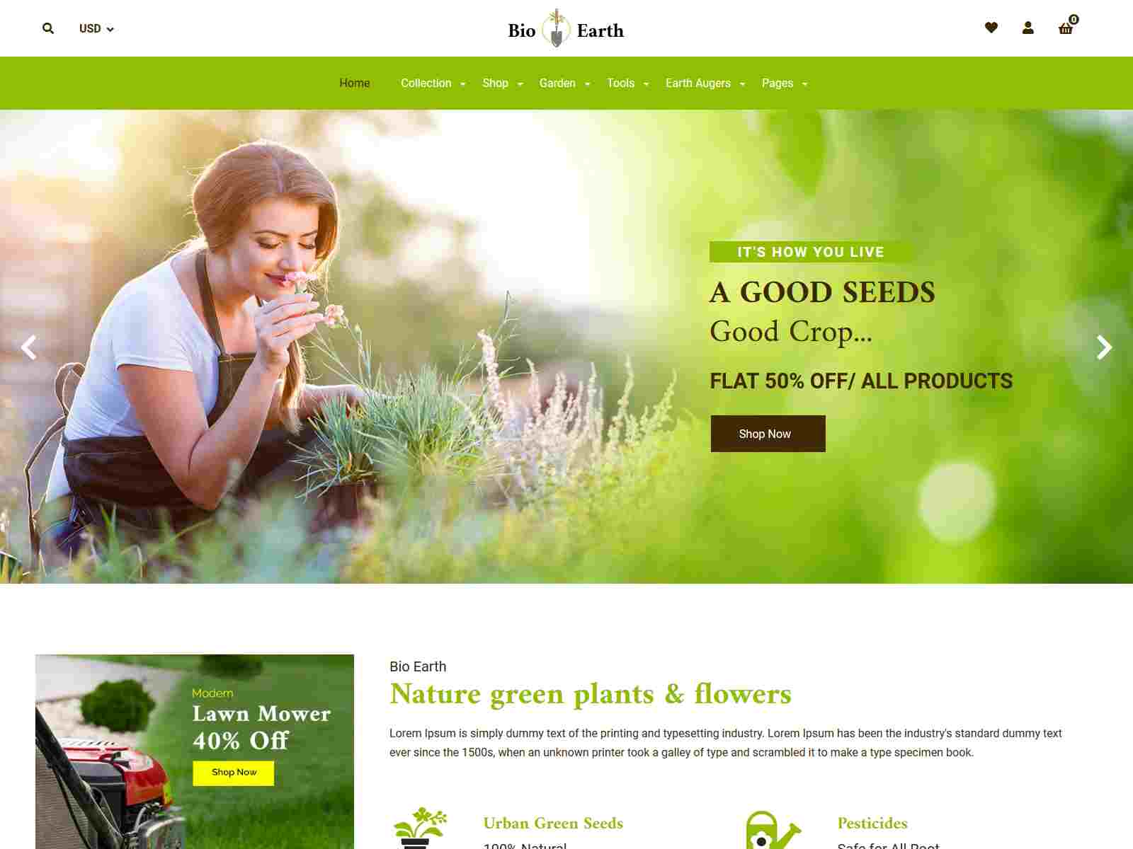 Bio Earth - Garden Plants Landscaping Shopify Theme