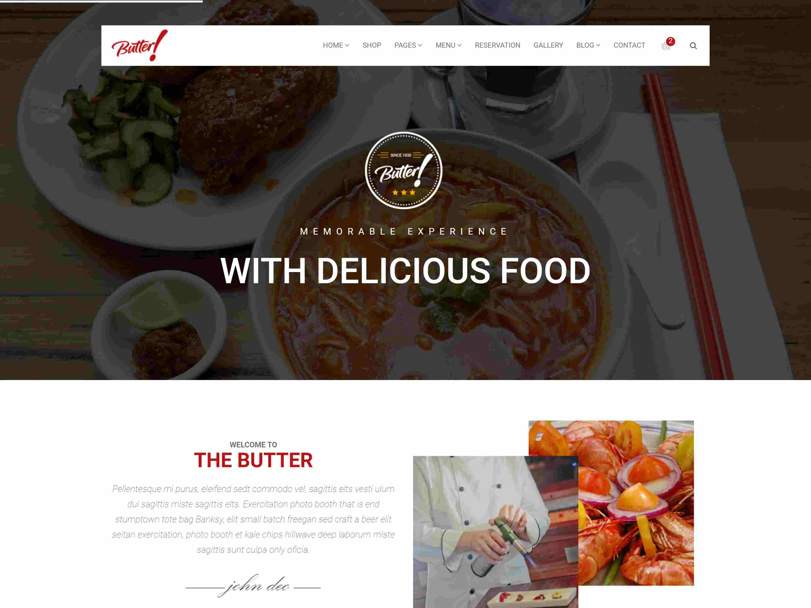 Butter - Professional Restaurant and Pizza Drupal 8.8 Theme Restaurant Drupal Themes