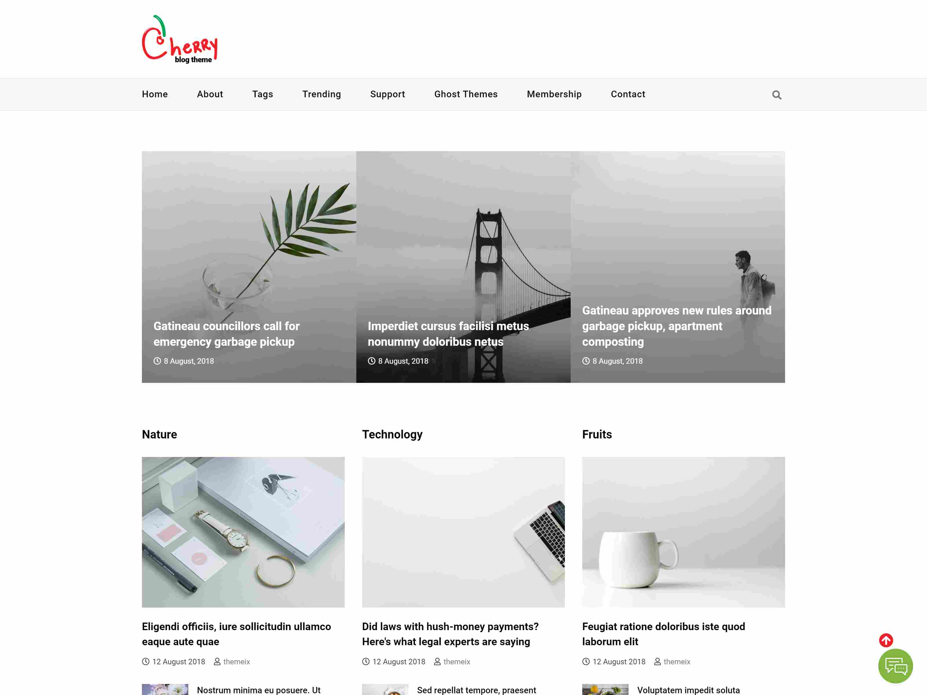 Cherry - Ghost Blog and News Magazine Theme