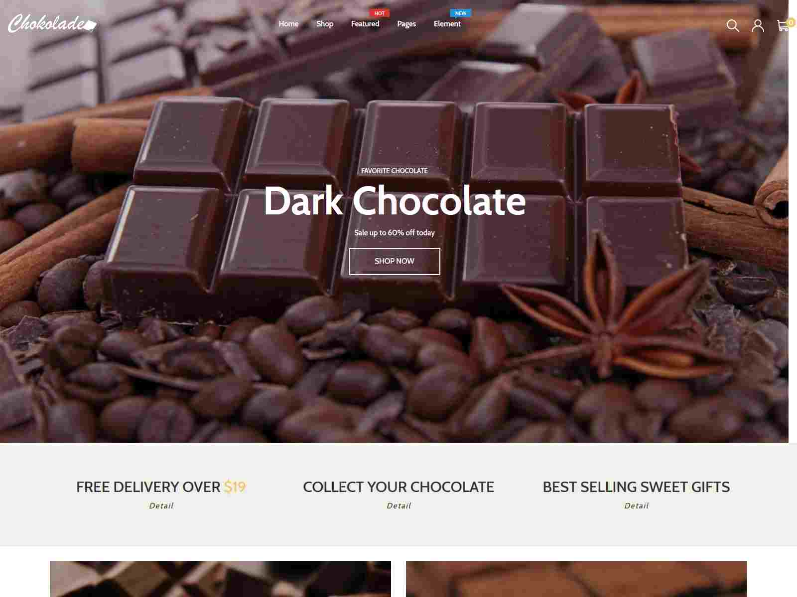 Chokolade  Chocolate Sweets and  Candy And Cake Shopify Theme