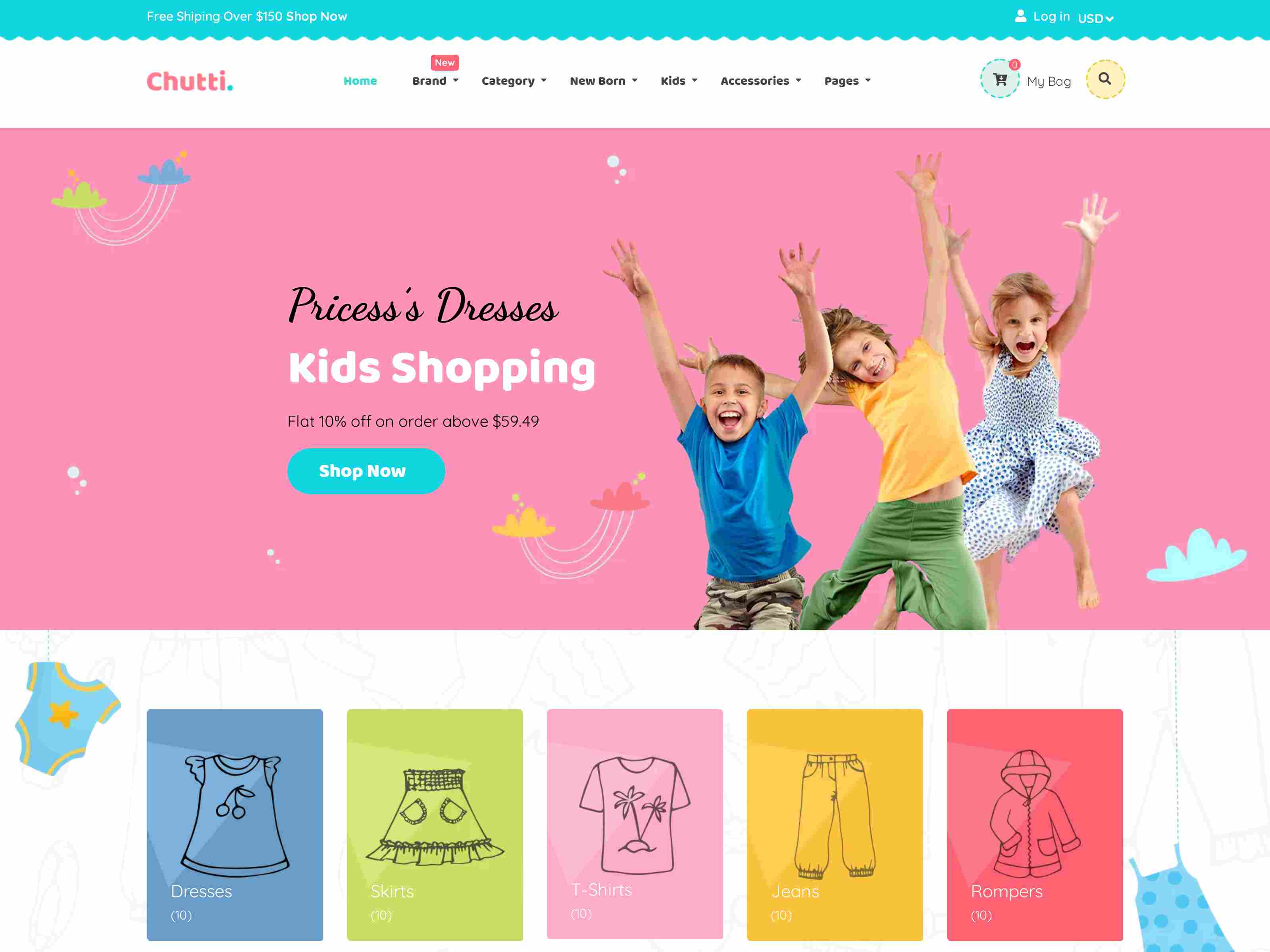 Chutti - Kids, Baby shop Shopify Theme