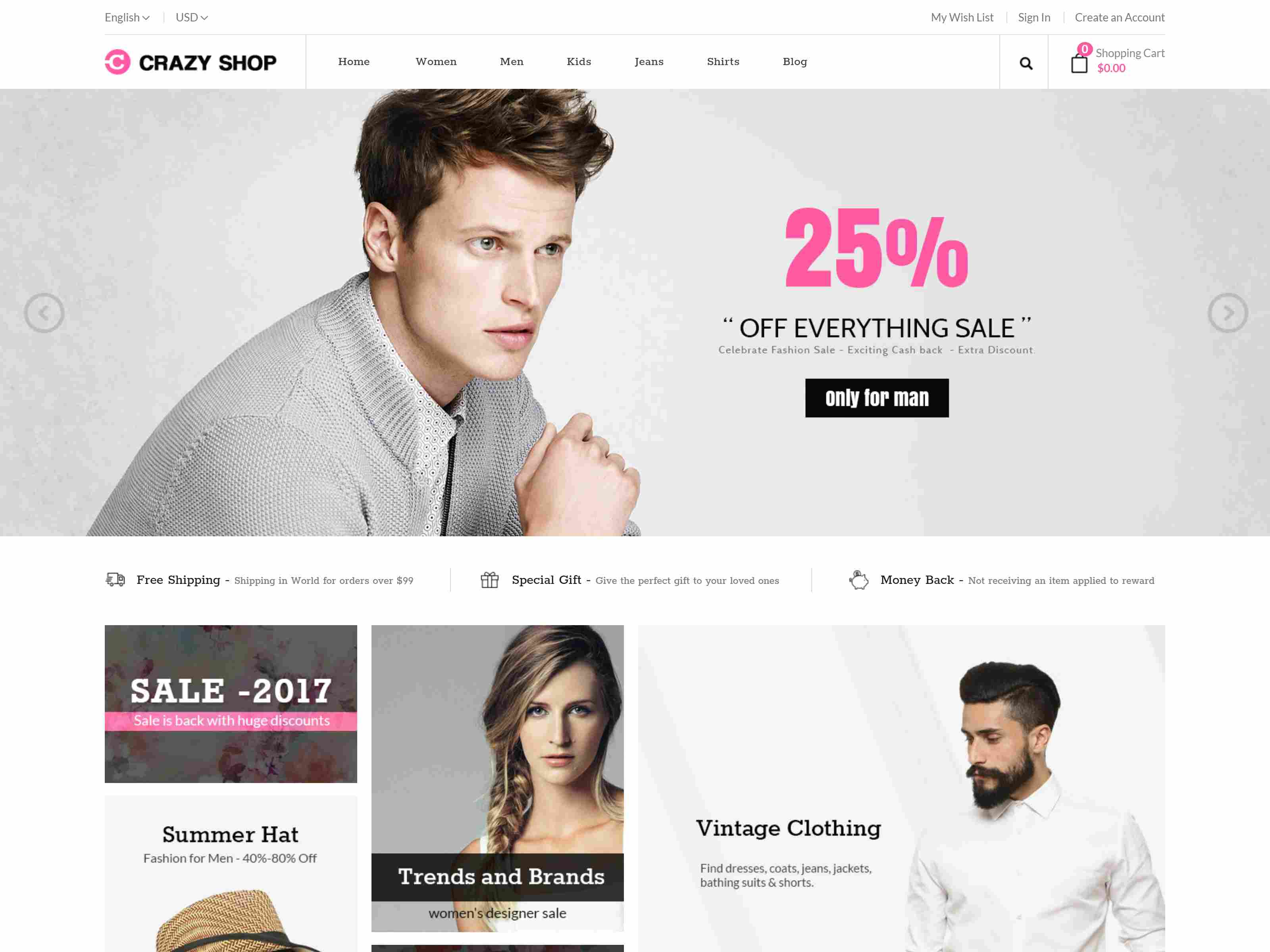 Crazyshop Multipurpose Responsive Magento2 Theme | Fashion | Watch | Food