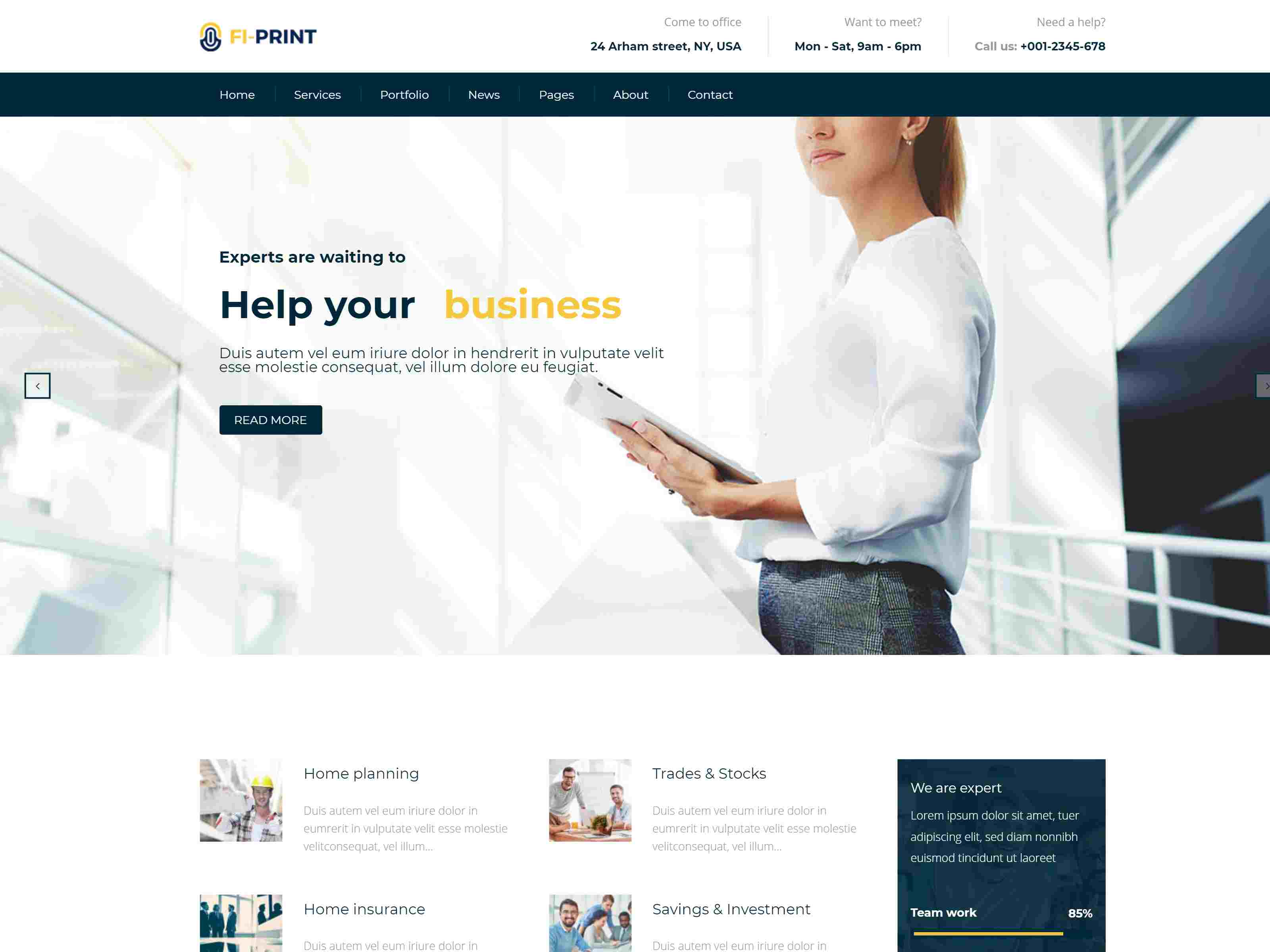 Fi-Print – Business And Accountant Corporate Drupal 8.8 Theme