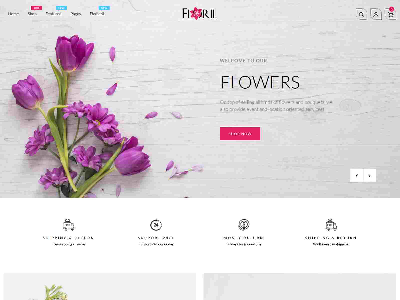 Floril - Florist Boutique & Decoration Store Shopify Theme