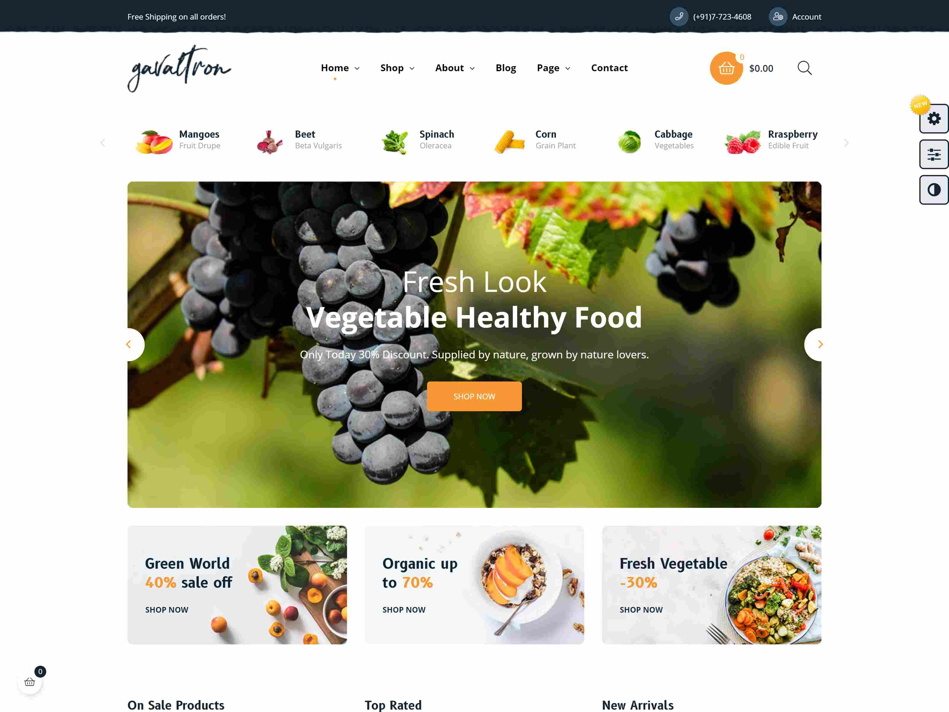 Galvatron Food PrestaShop Theme for Restaurant & Grocery