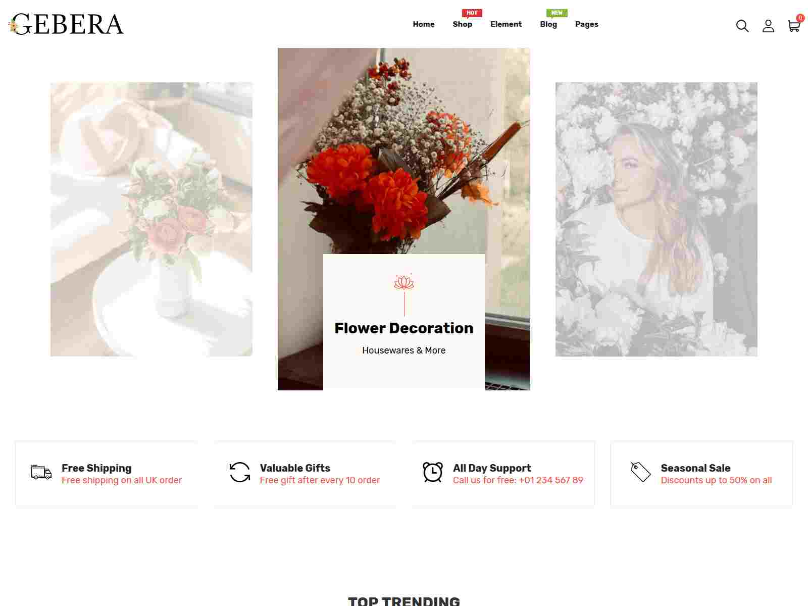 Gerbera - Florist Boutique  and Decoration Store Shopify Theme