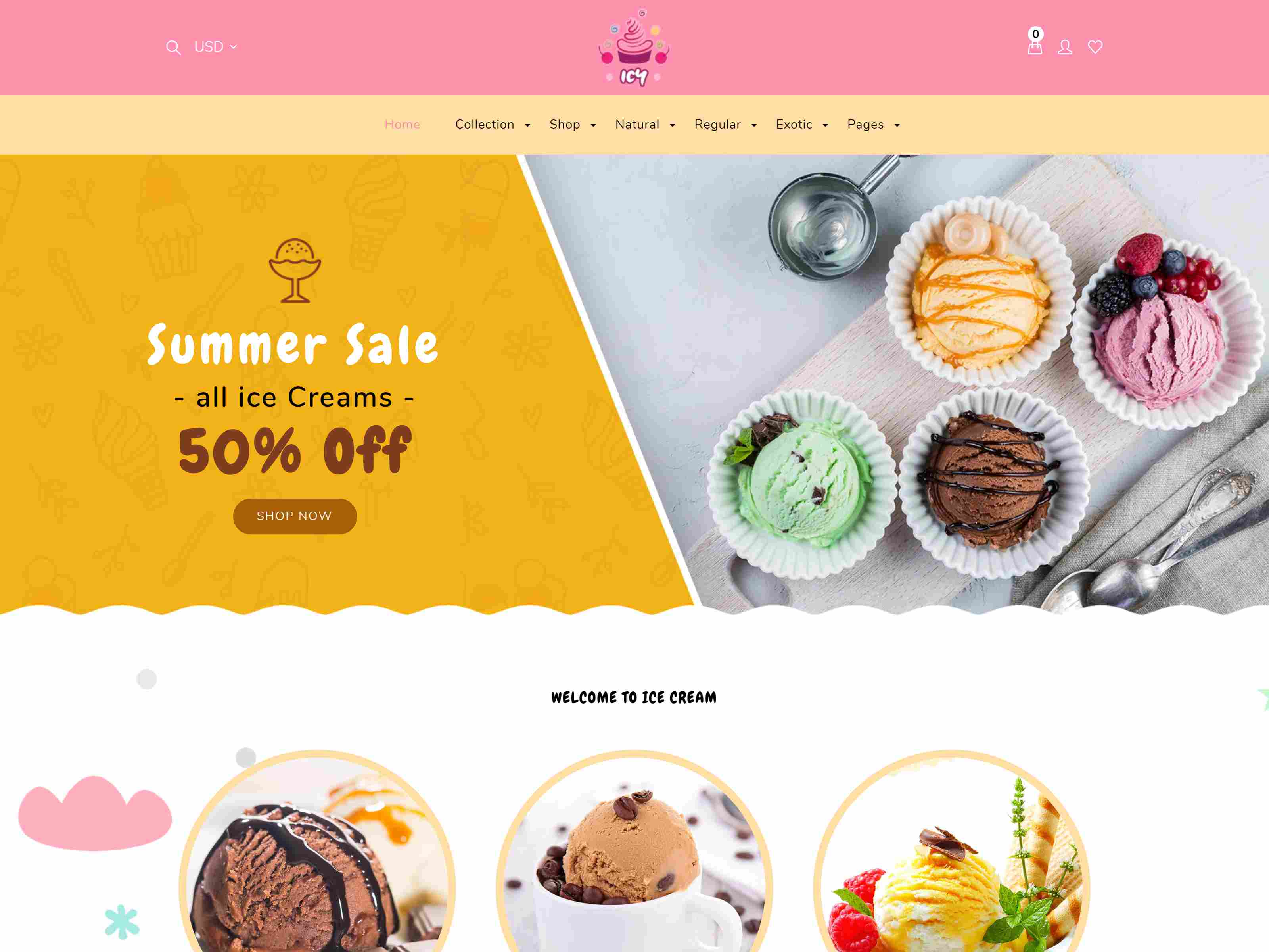 Icy - Shopify Ice Cream, Cake Shop Template