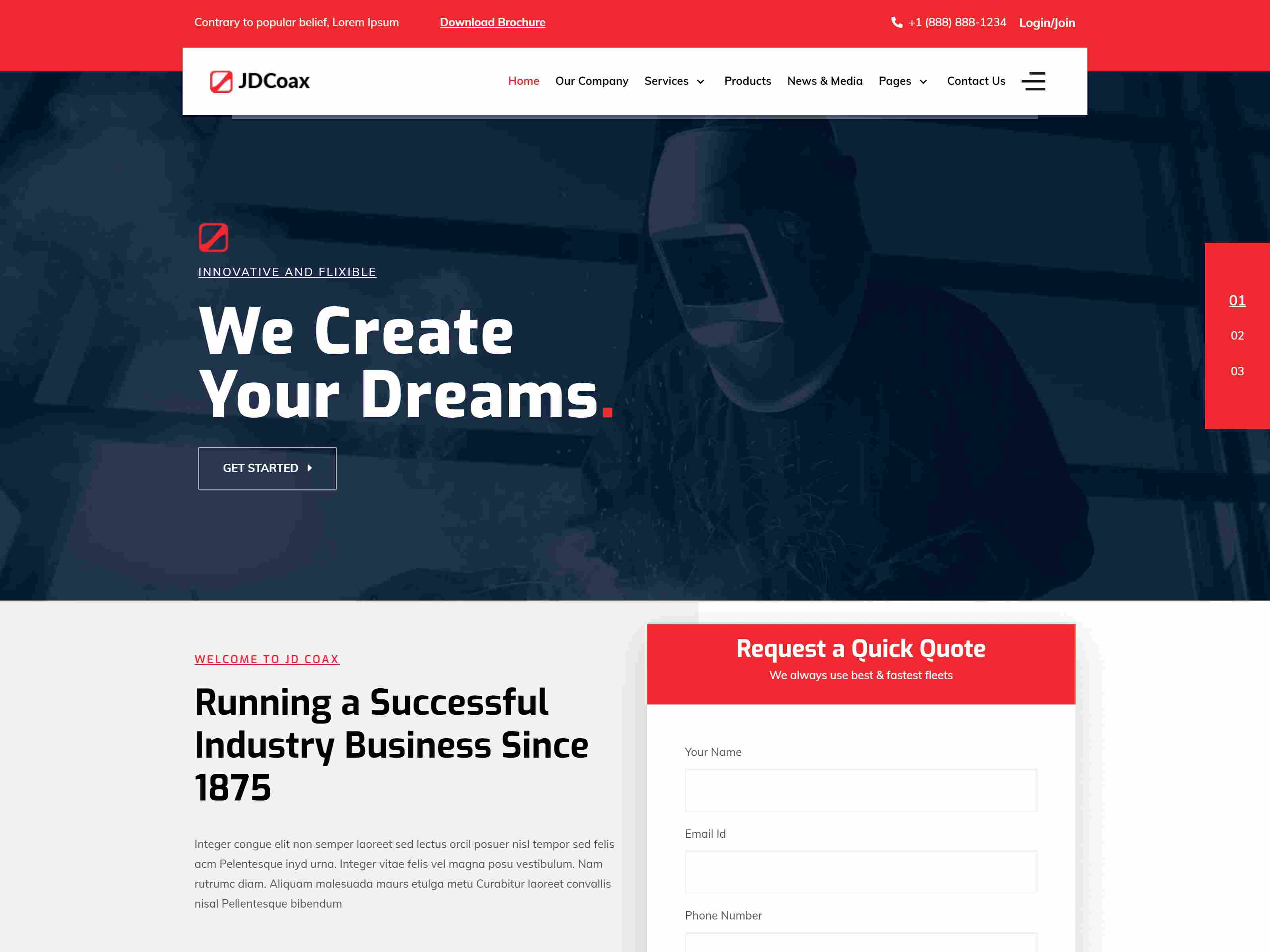 JD Coax - Industrial Joomla Template With Catalog Shop Integration joomla construction template