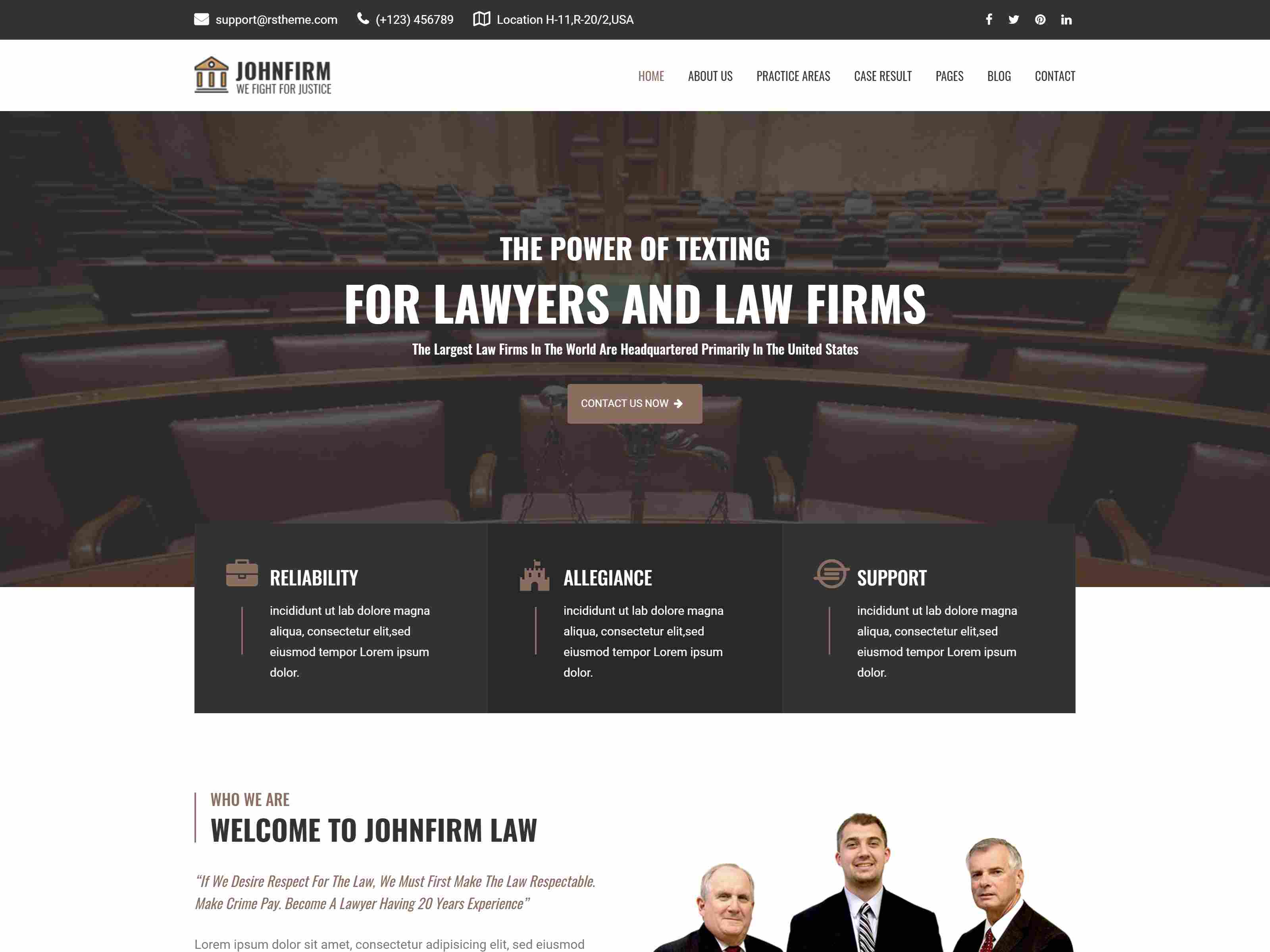 Johnfirm - Lawyer & Lawfirm Joomla Template