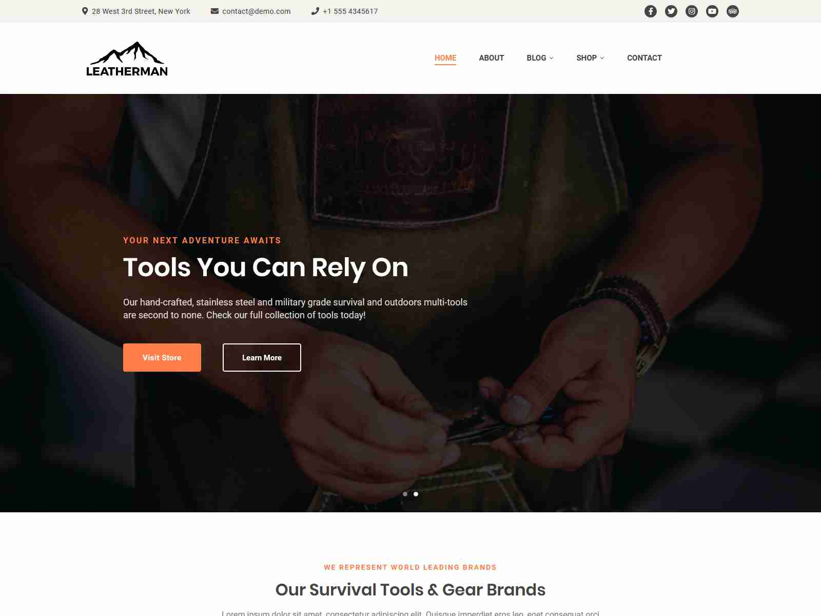 Leatherman - A WordPress Theme for Survival & Outdoors Brands
