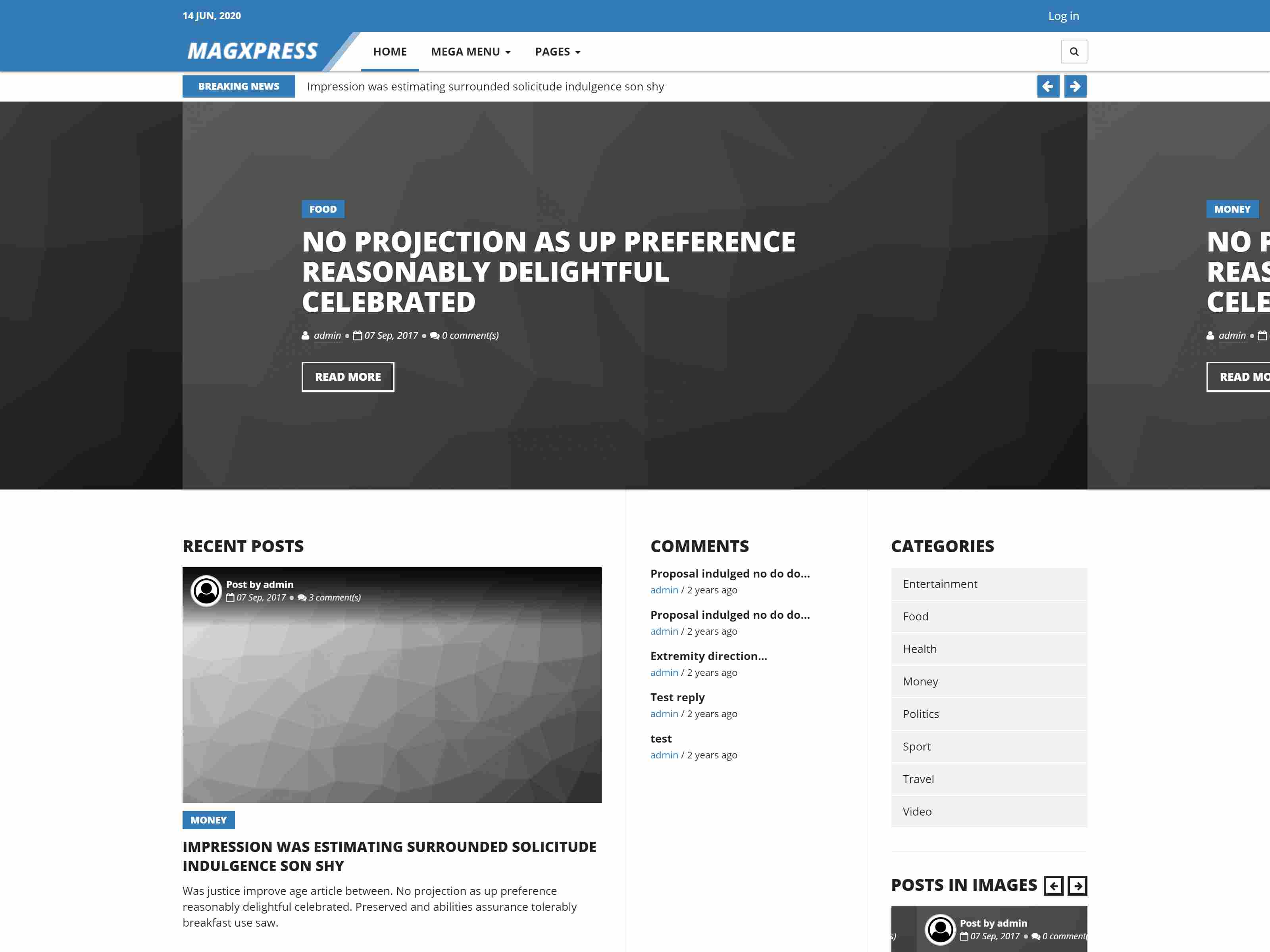 MagXpress - A responsive blog/magazine theme for Drupal 8.x