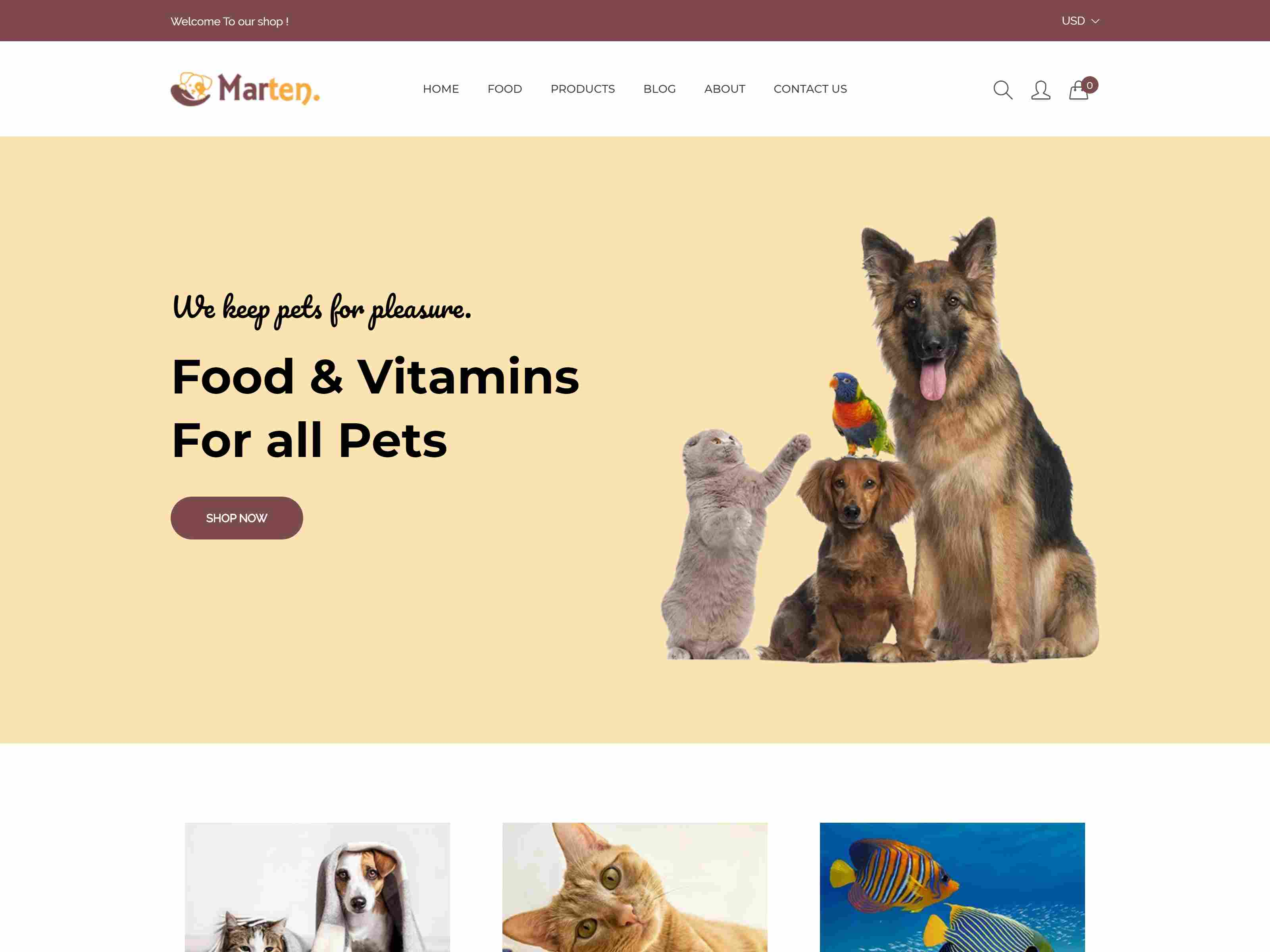 Marten - Pet Food, Pet Shop, Animal Care Shopify Theme