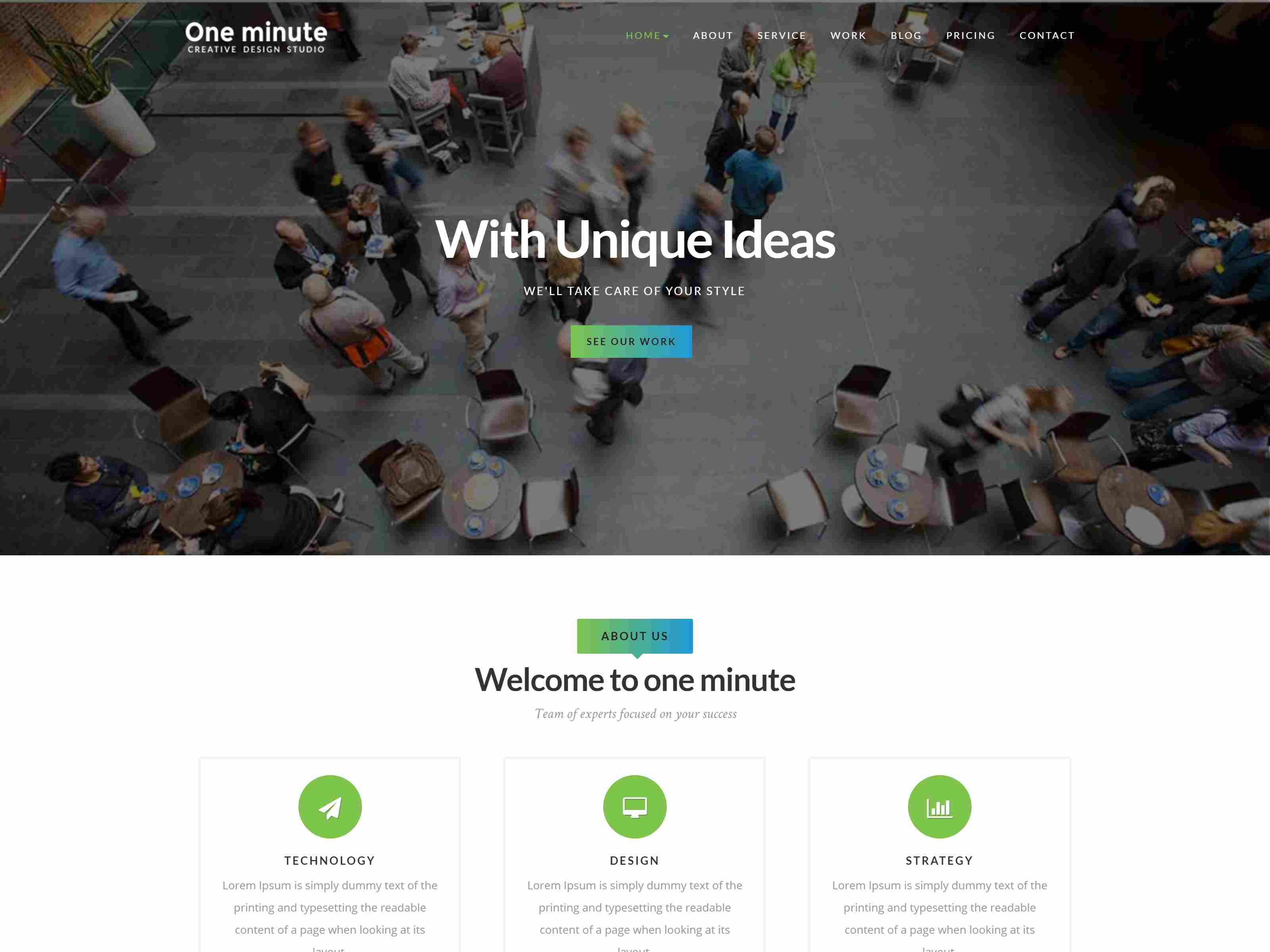 One minute - Responsive One Page Joomla Template