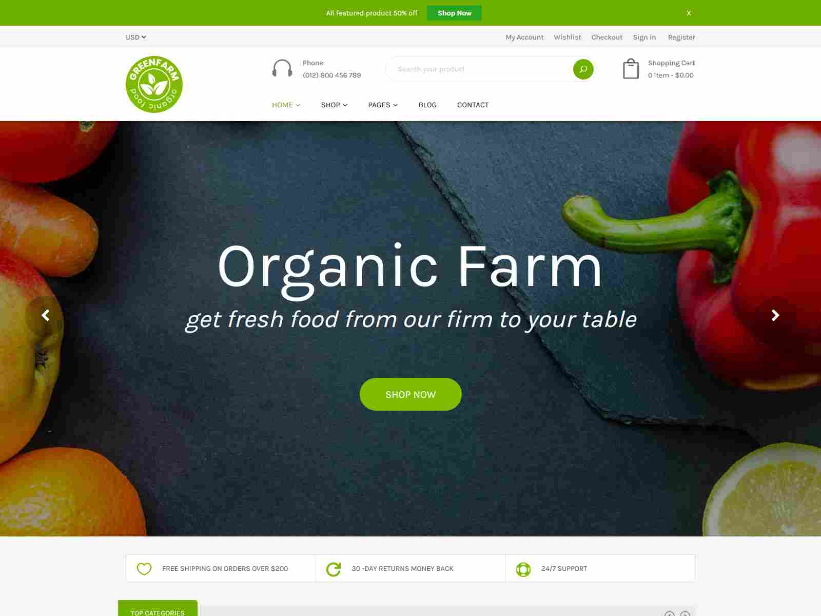 Organic Food Shopify eCommerce Theme - Greenfarm