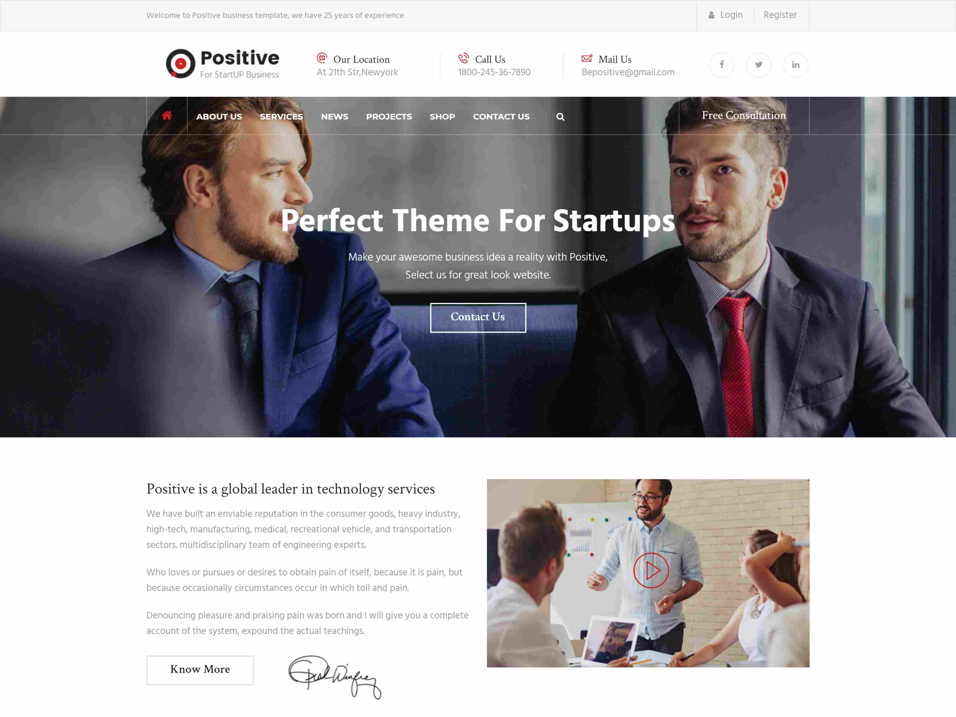 Positive - Startup Business Joomla Template
