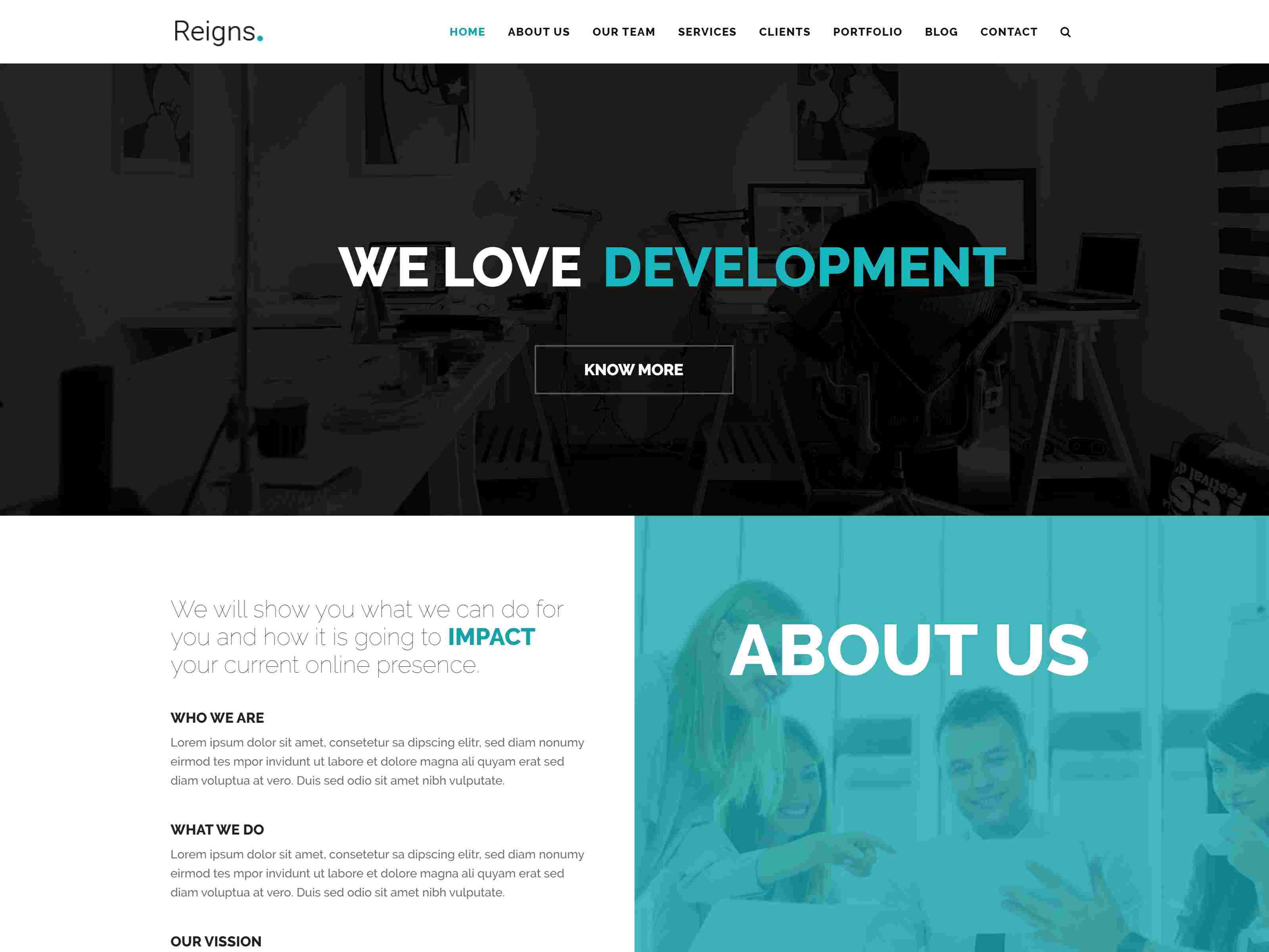 Reigns - Professional One Page Drupal 8.8 Theme