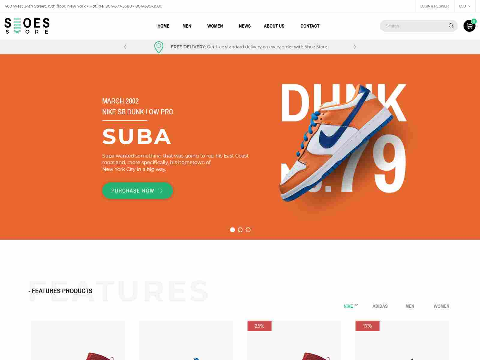 Shoes - Responsive eCommerce Sections Theme