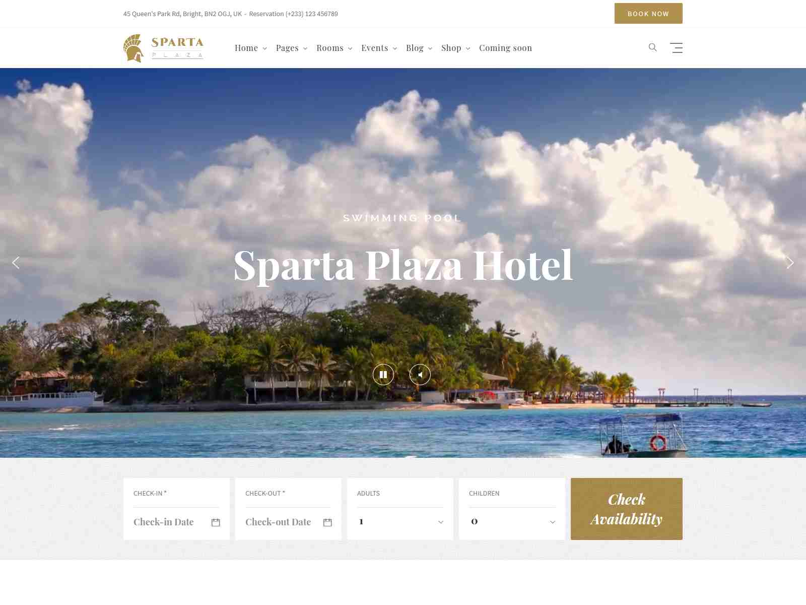 Sparta - Hotel Booking WordPress Theme