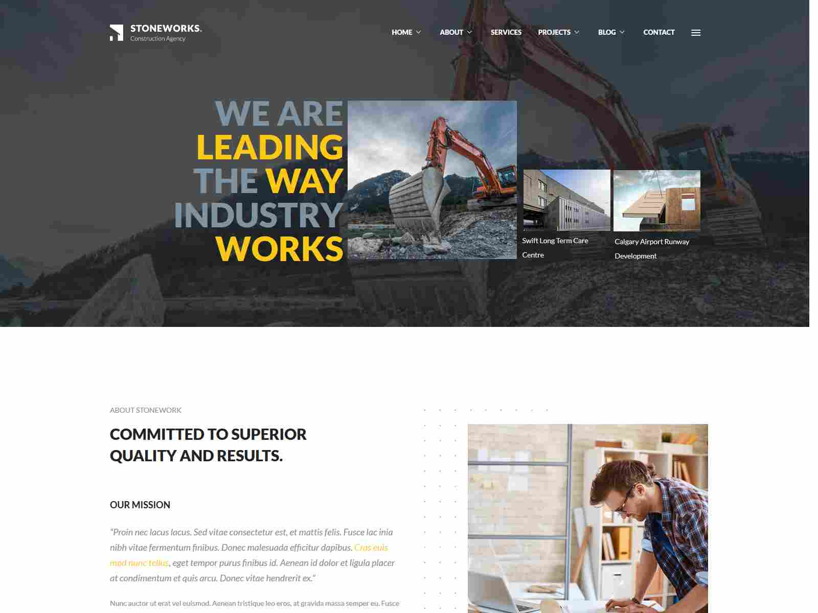 Stoneworks - A Professional Drupal 8.8 Theme for Construction And Building Business