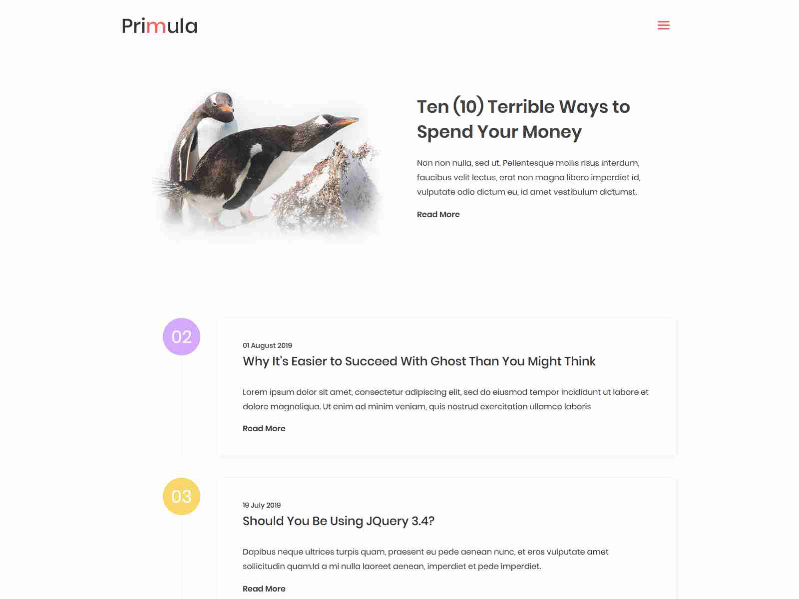Primula - Bootstrap 4 Jekyll Blog Theme