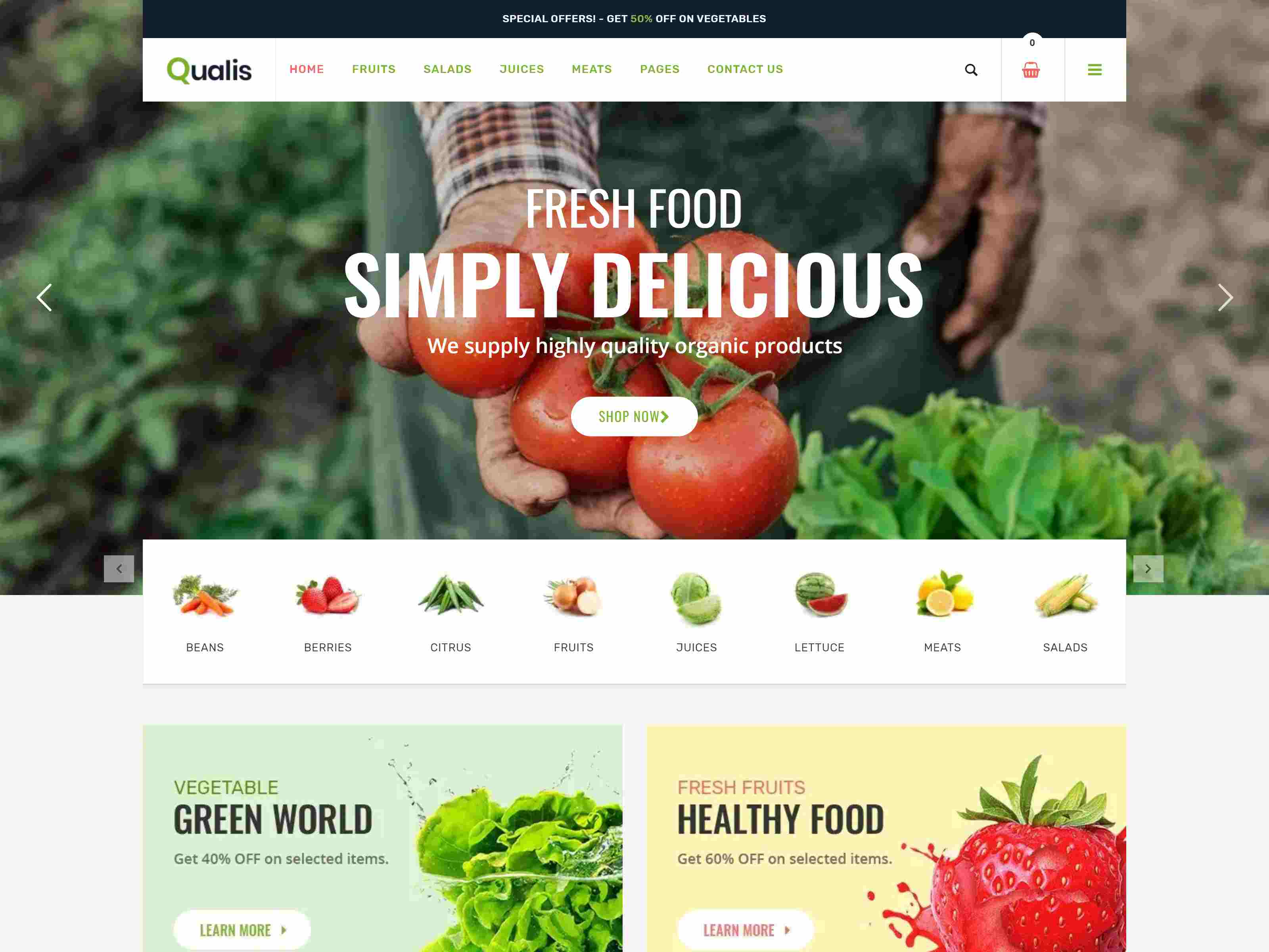 Qualis - Organic Food Responsive eCommerce WordPress Theme Organic WordPress Themes