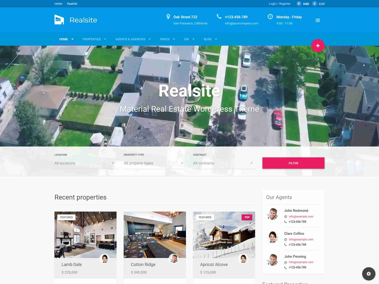 Realsite - Material Real Estate WordPress Theme real estate wordpress themes