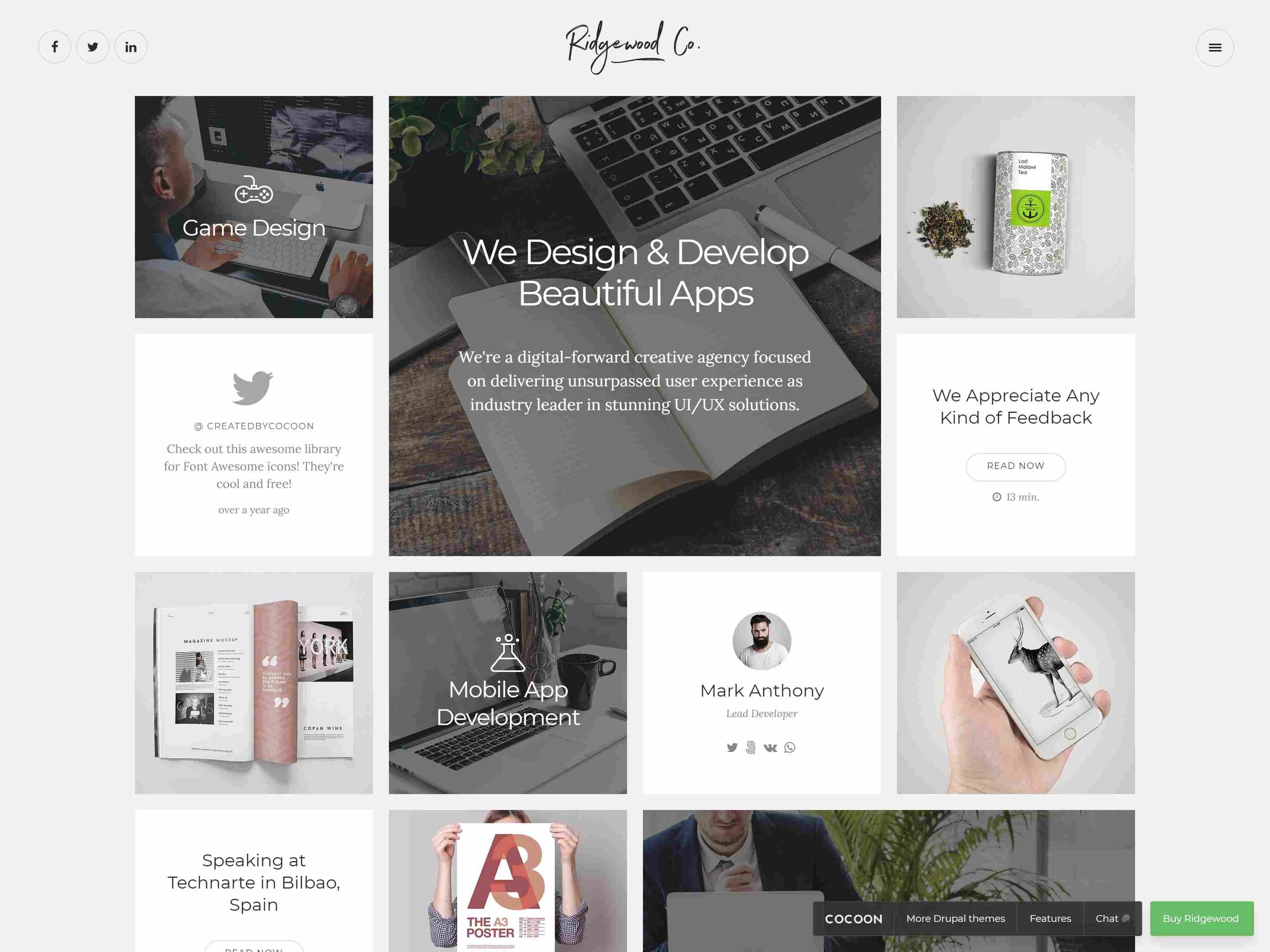 Ridgewood – A Clean Creative Drupal Theme with Portfolio