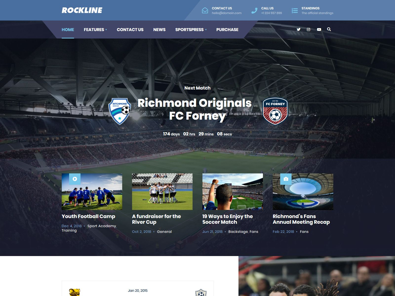 Rockline - Sport News and Club WordPress Theme wordpress news themes