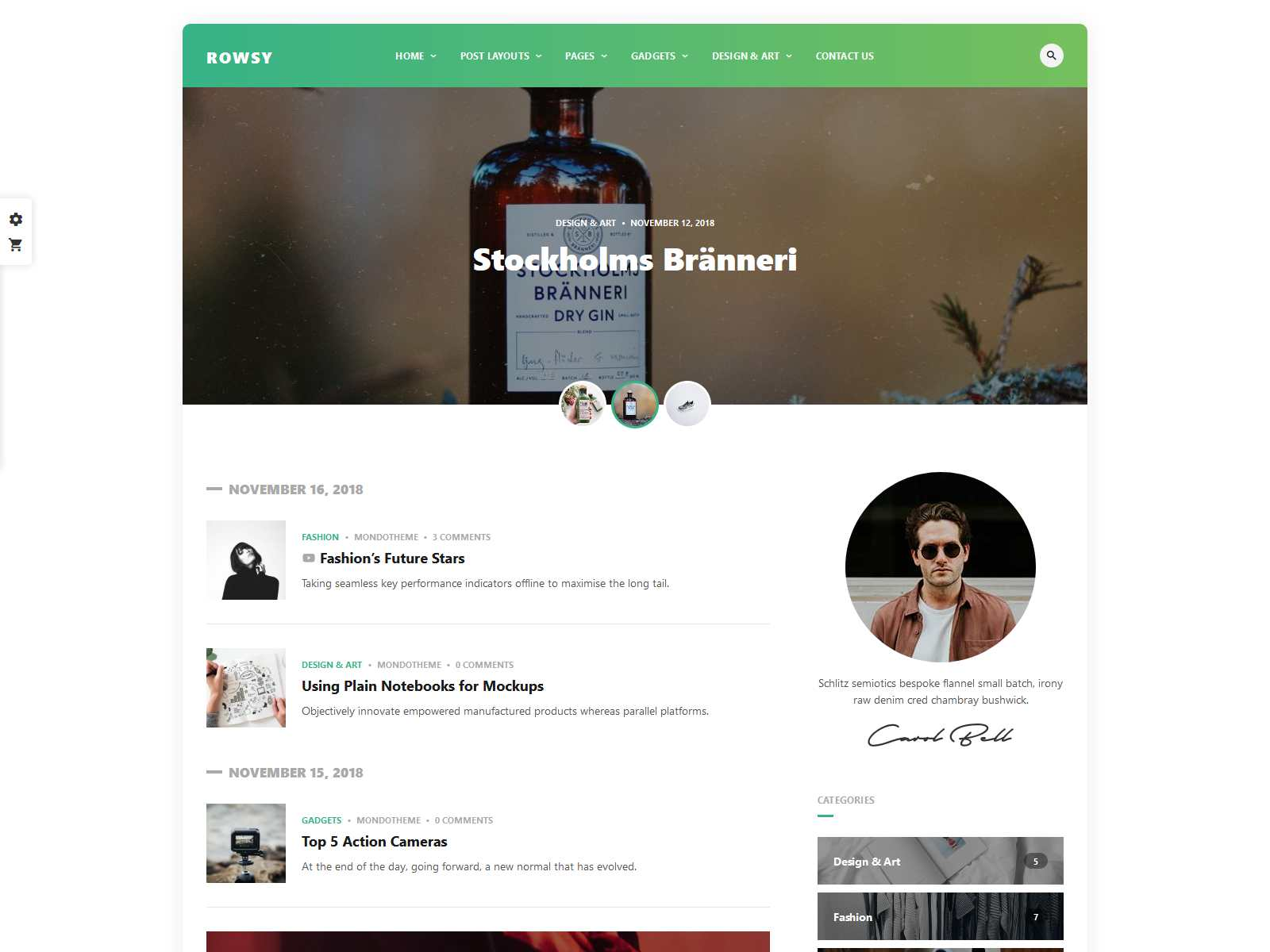 Rowsy - WordPress Blog Theme