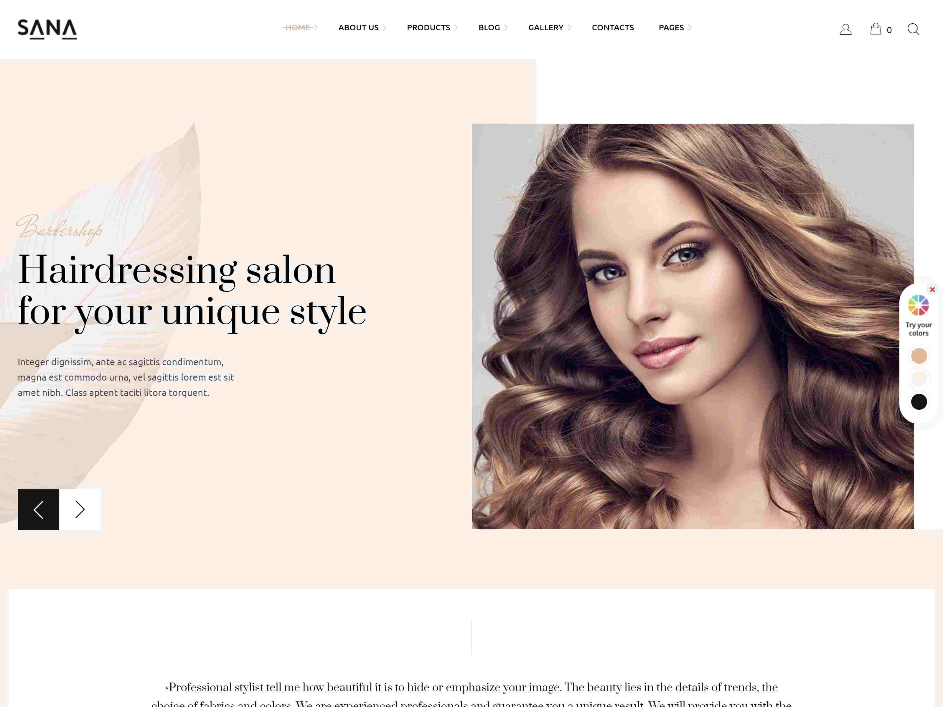Sana - Fashion Stylist, Beauty Salon and Makeup Artist WordPress Theme