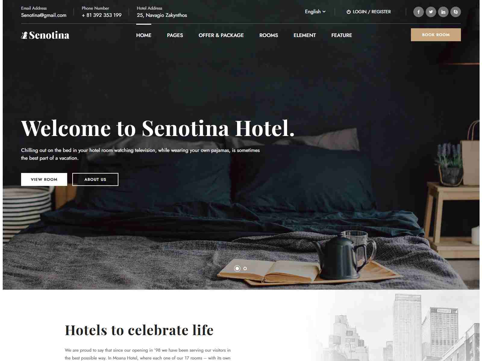 Senotina - Resort and Hotel WordPress Theme
